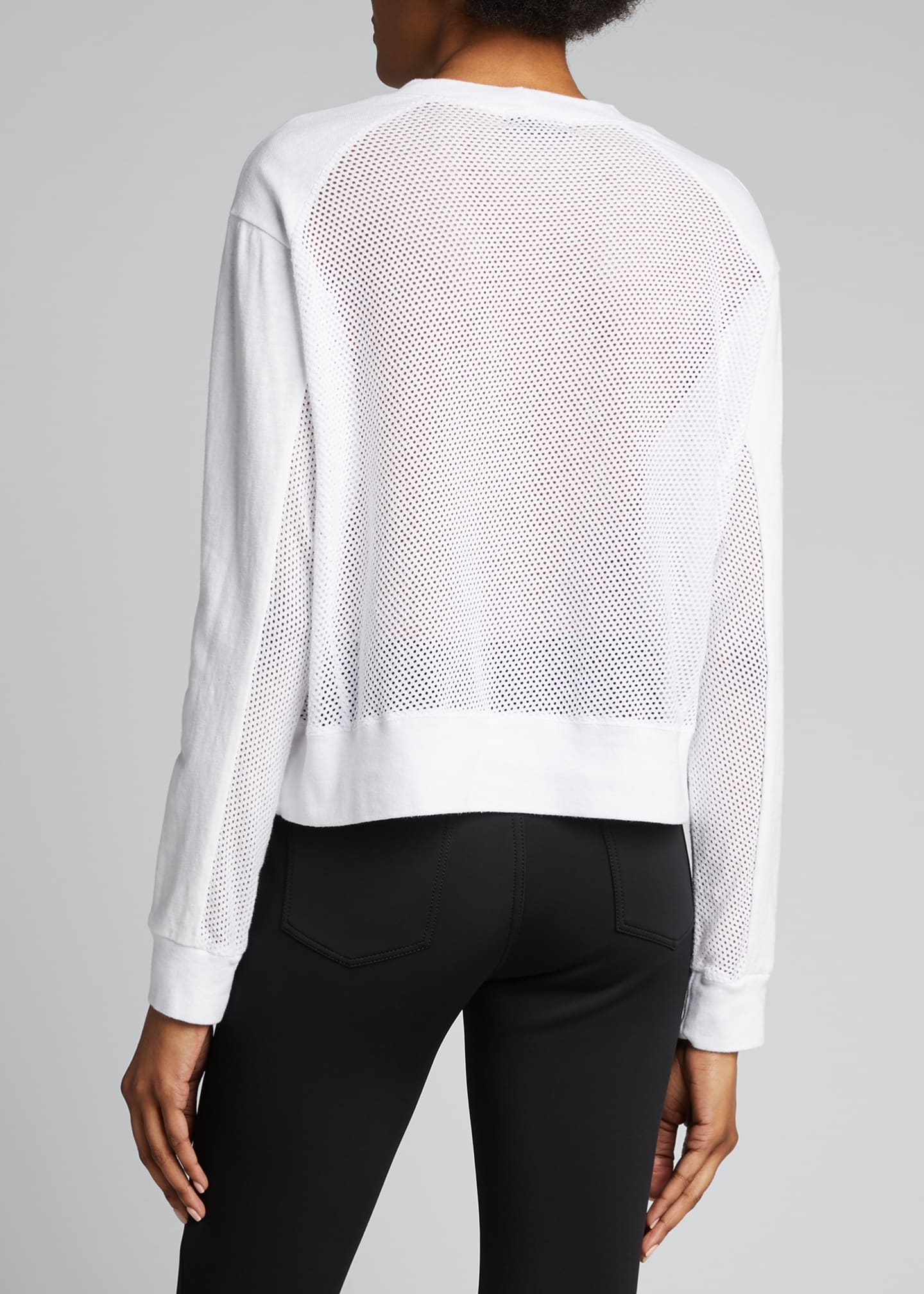 Image 2 of 5: Long-Sleeve Crewneck Sweatshirt with Mesh Back