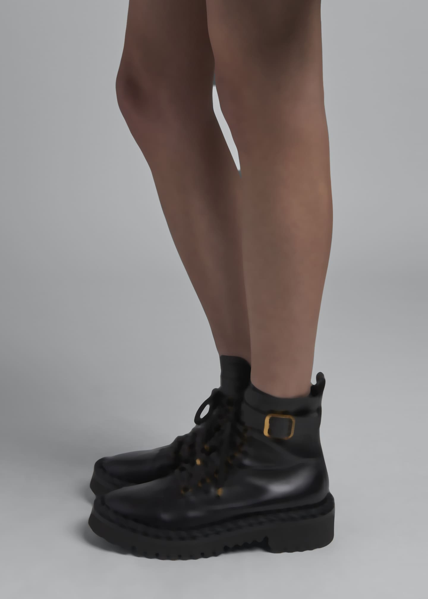 Image 2 of 4: 40mm Rope-Detailed Leather Combat Booties