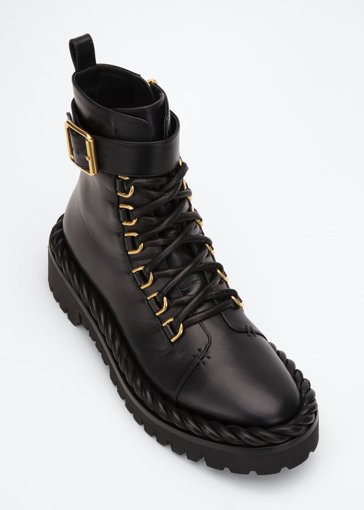 Image 4 of 4: 40mm Rope-Detailed Leather Combat Booties