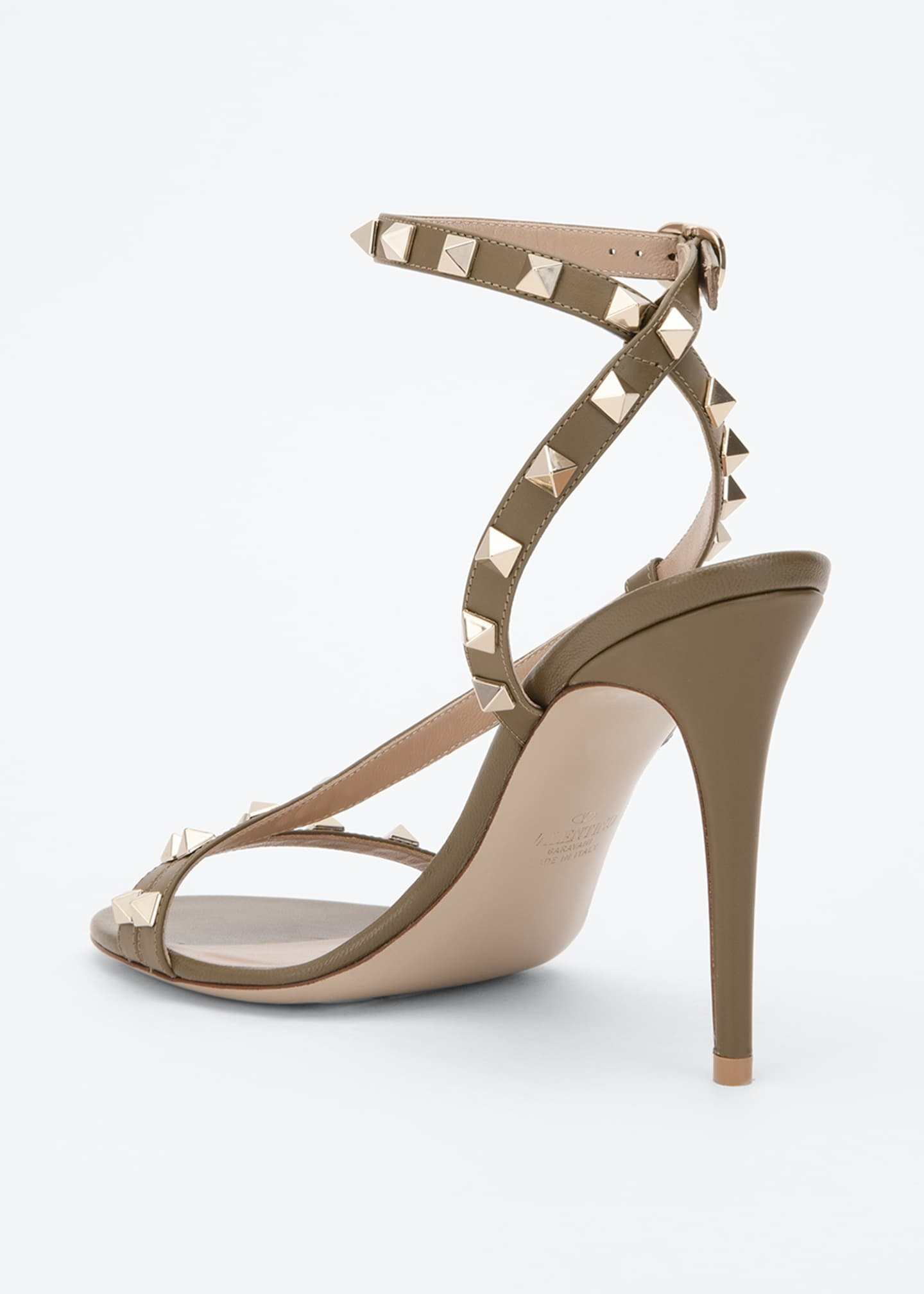Image 2 of 3: Rockstud 100mm Asymmetric Ankle-Strap Sandal