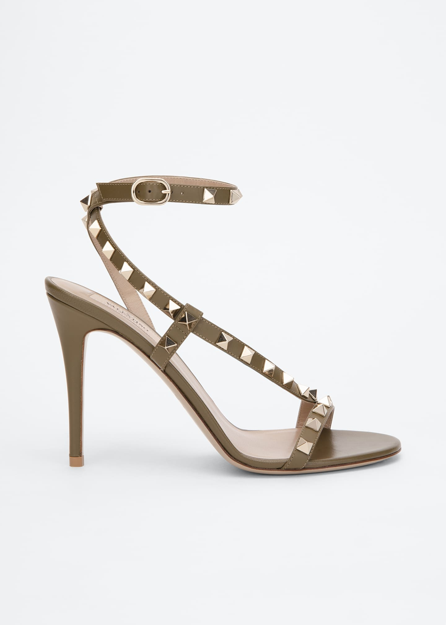 Image 1 of 3: Rockstud 100mm Asymmetric Ankle-Strap Sandal