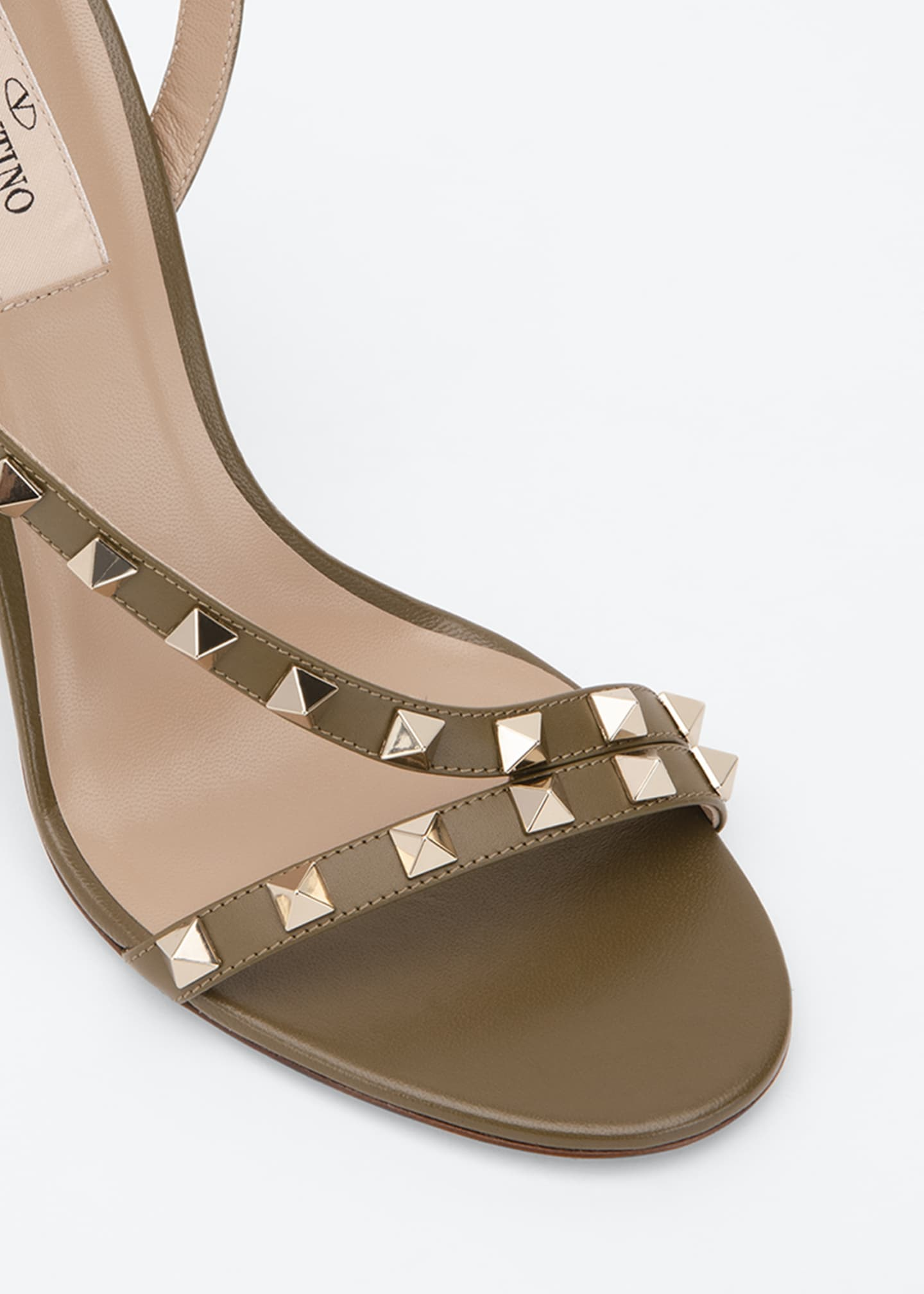 Image 3 of 3: Rockstud 100mm Asymmetric Ankle-Strap Sandal