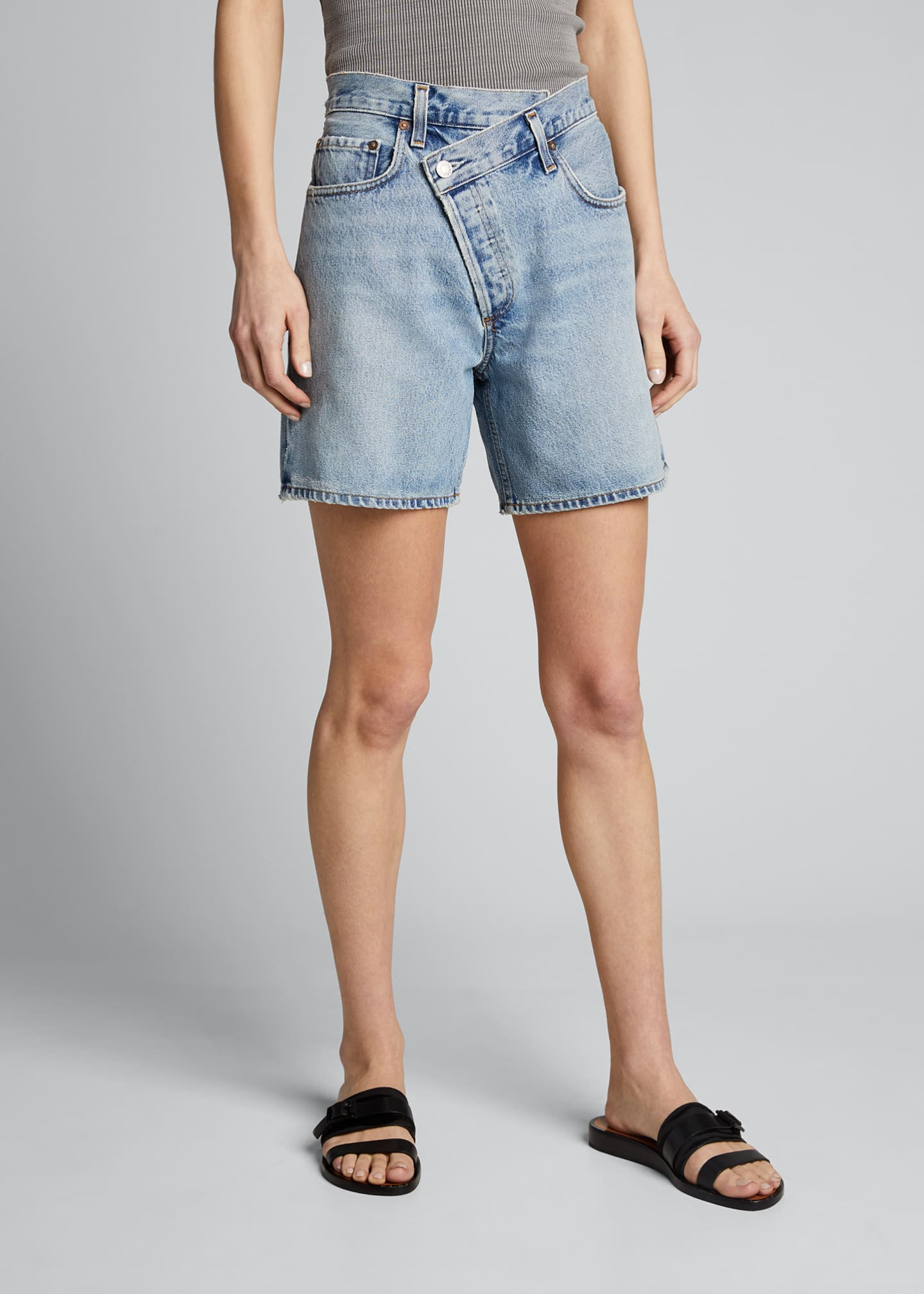 Image 3 of 4: Crisscross Denim Shorts