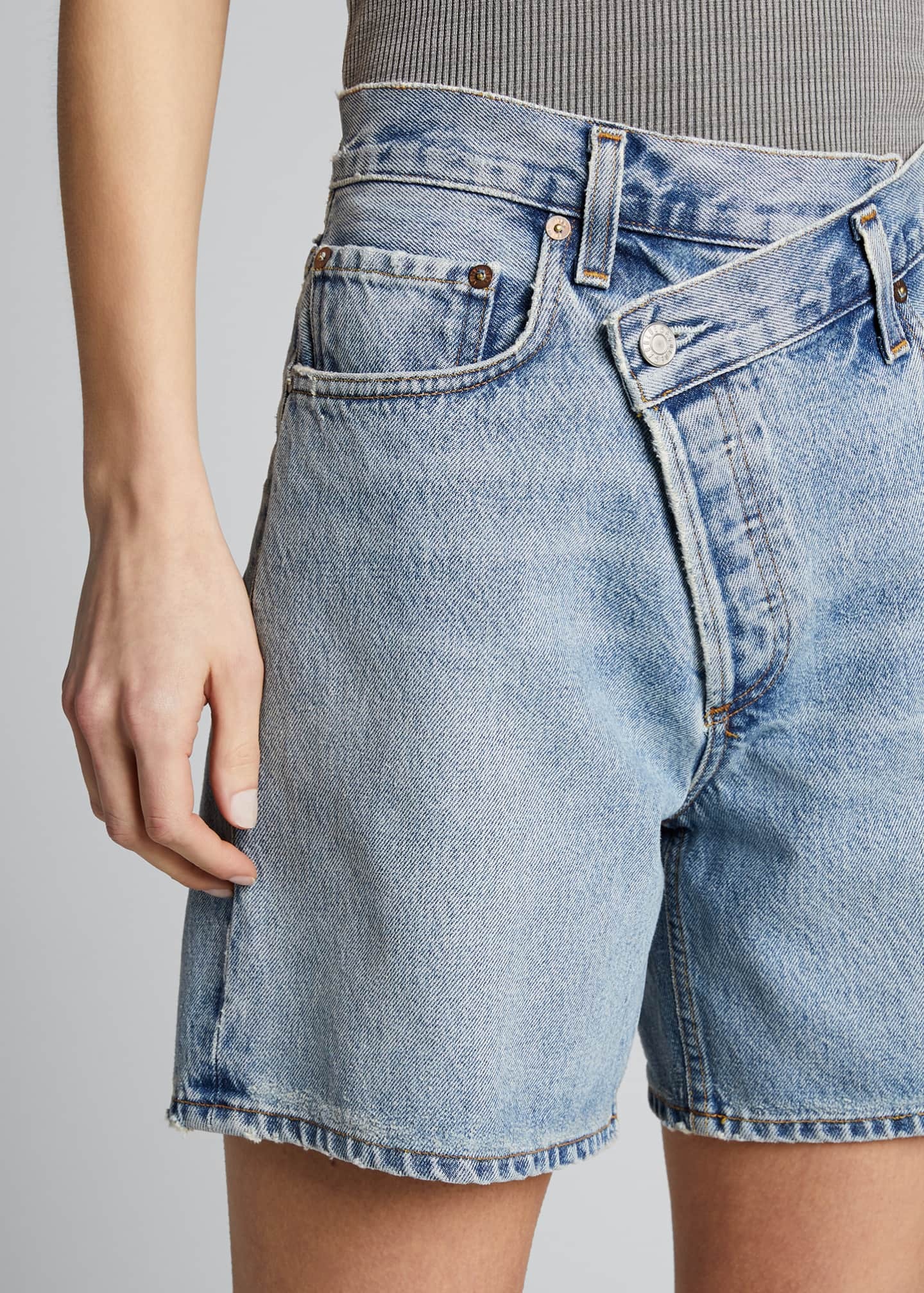 Image 4 of 4: Crisscross Denim Shorts