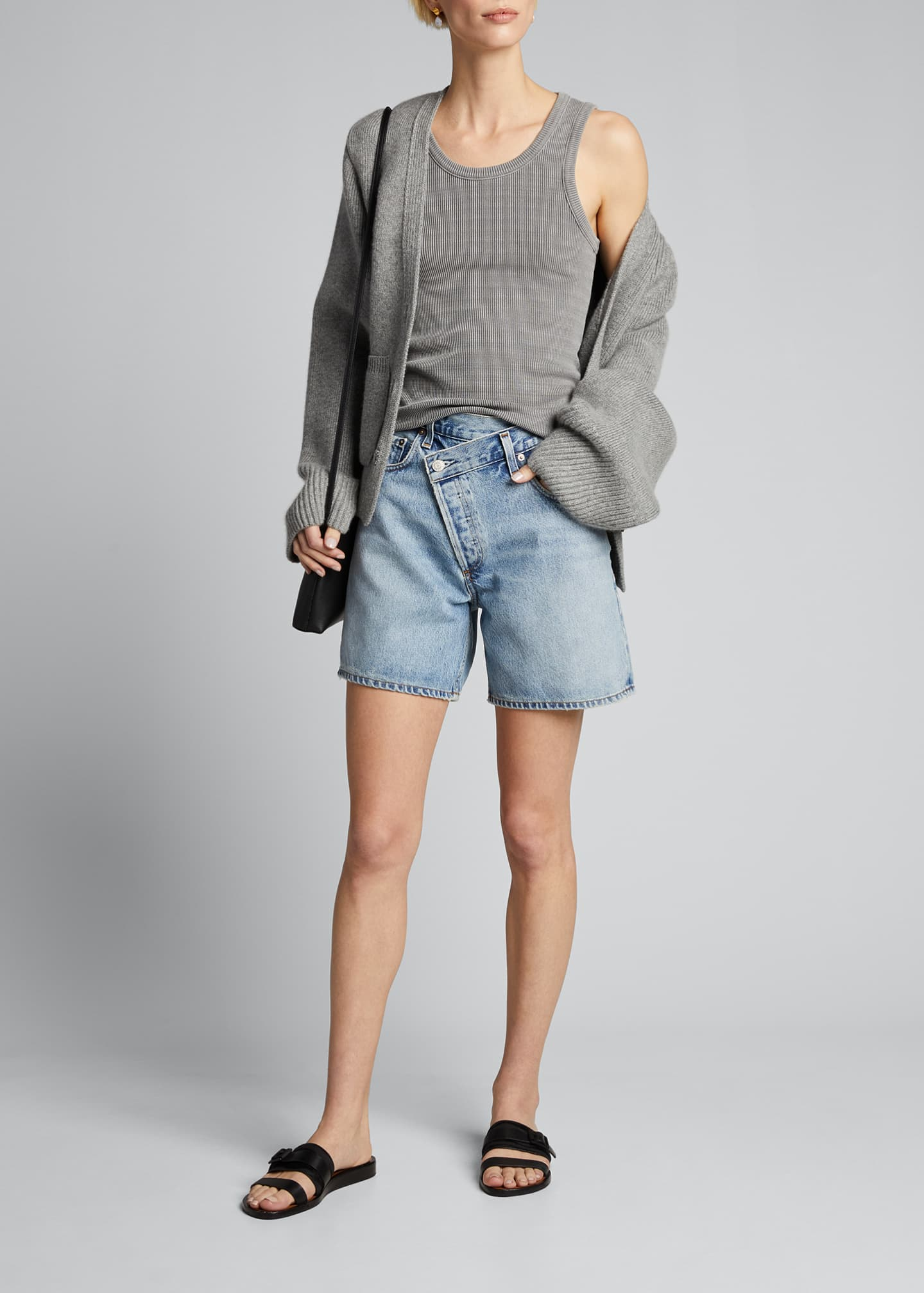 Image 1 of 4: Crisscross Denim Shorts