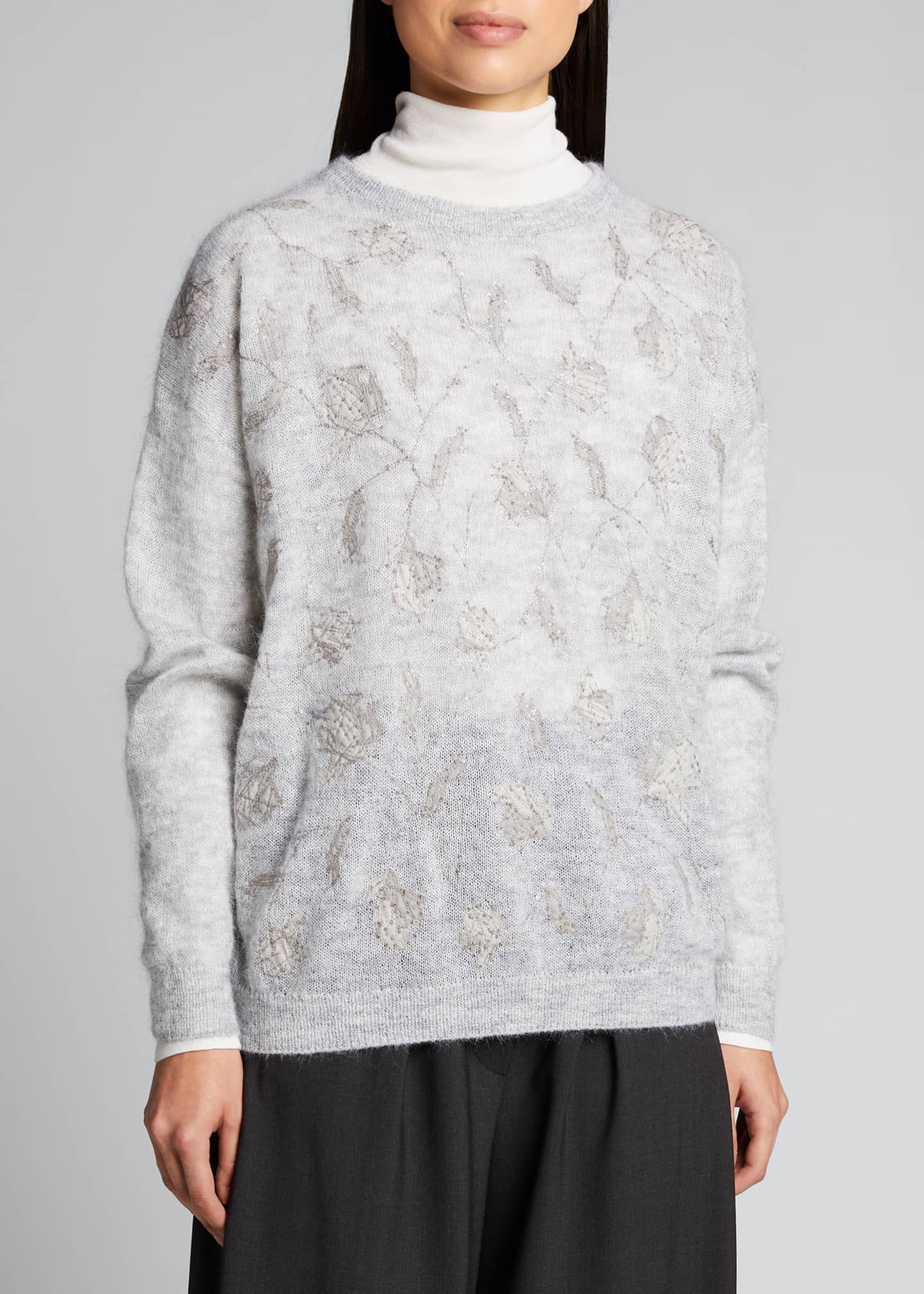 Image 3 of 5: Floral-Sequined Mohair Sweater