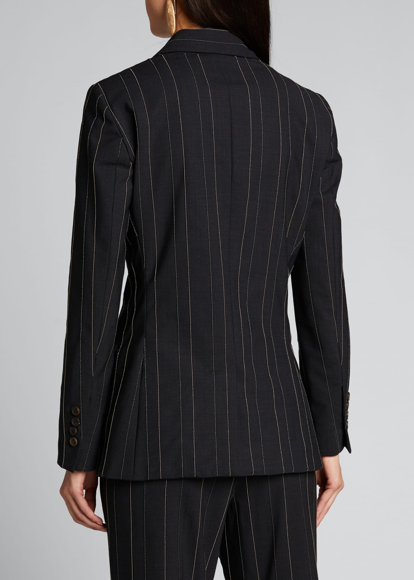 Image 2 of 5: Monili-Pinstriped Tropical Wool Blazer
