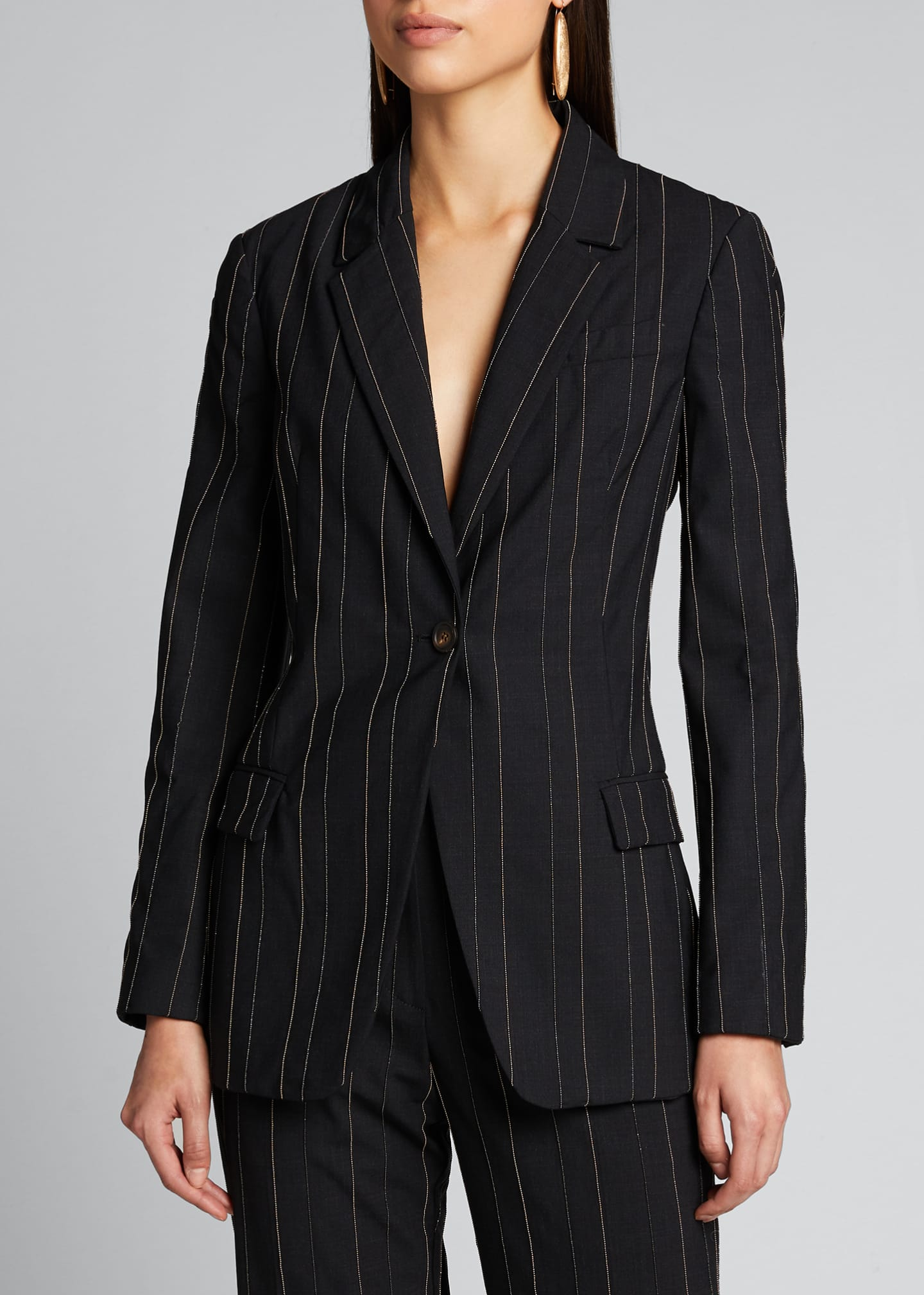 Image 3 of 5: Monili-Pinstriped Tropical Wool Blazer