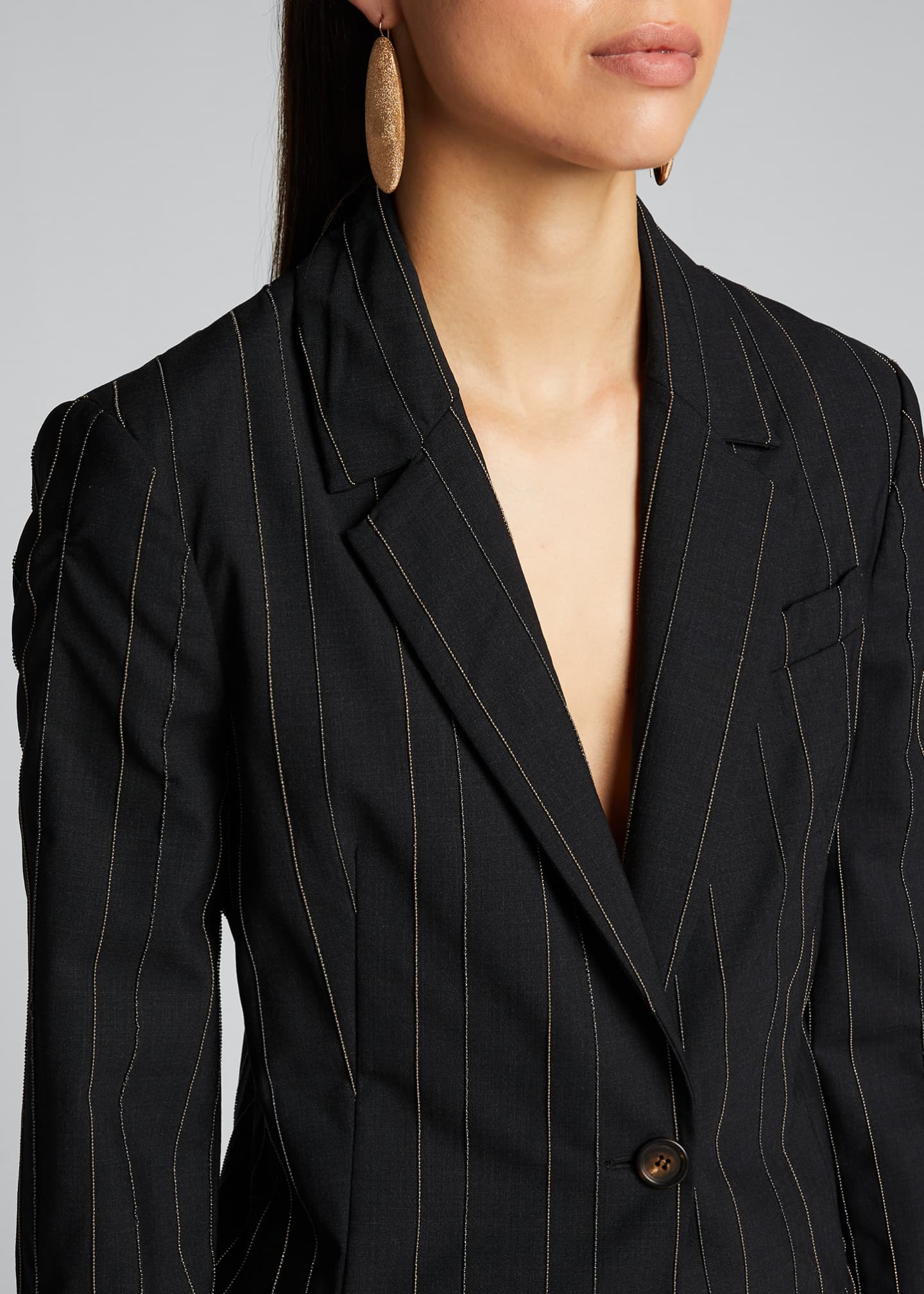 Image 4 of 5: Monili-Pinstriped Tropical Wool Blazer