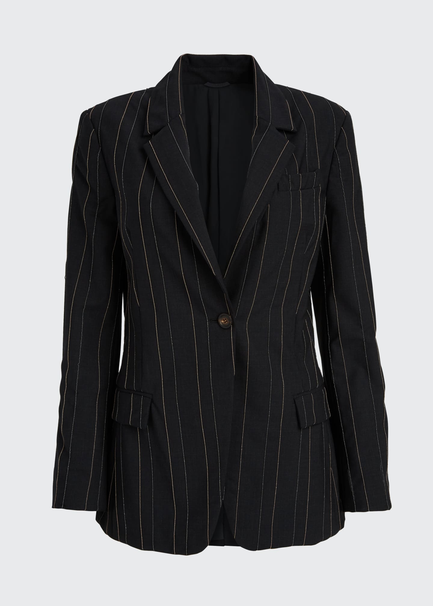 Image 5 of 5: Monili-Pinstriped Tropical Wool Blazer