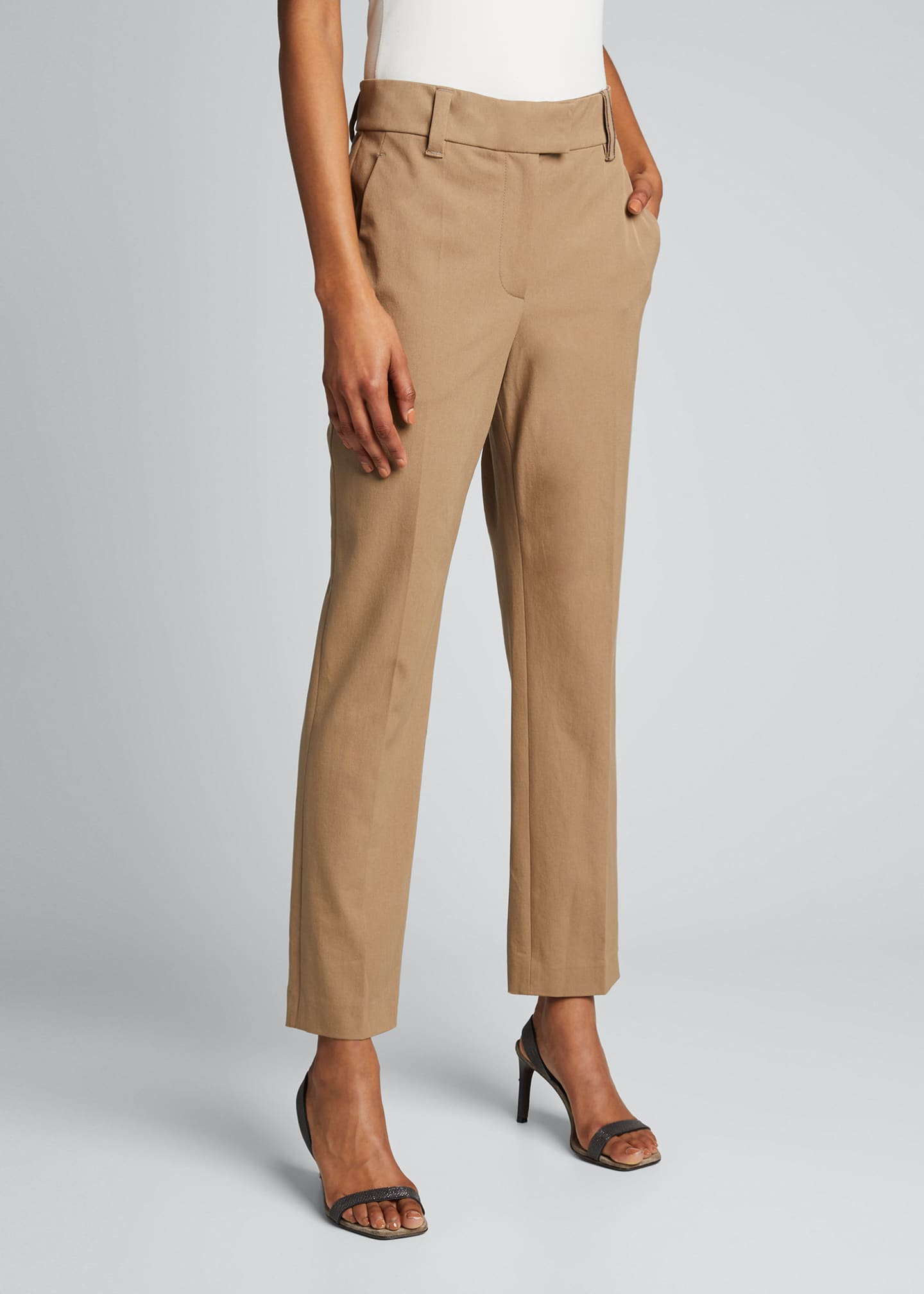 Image 3 of 5: Cotton Straight-Leg Crop Pants