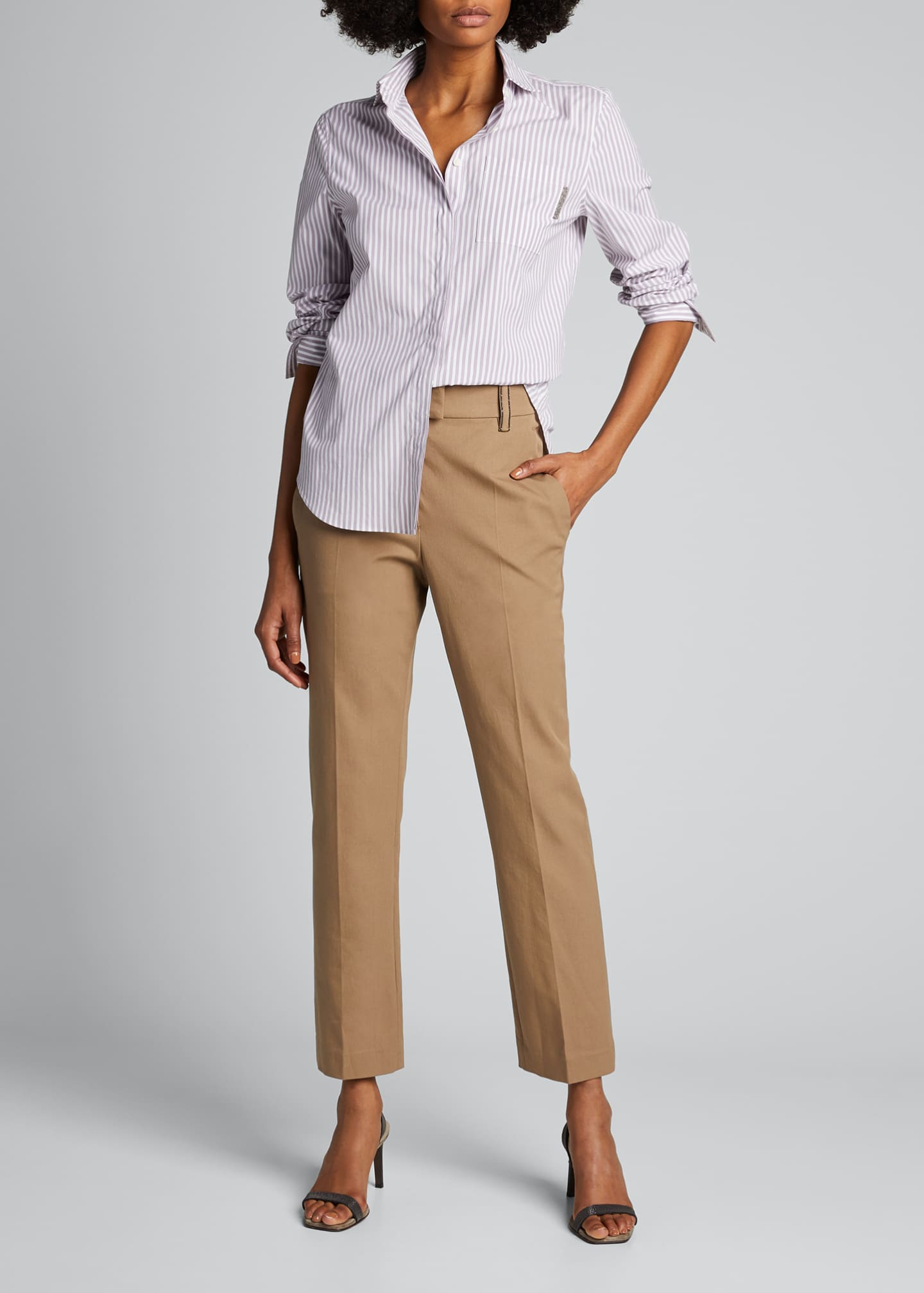 Image 1 of 5: Cotton Straight-Leg Crop Pants
