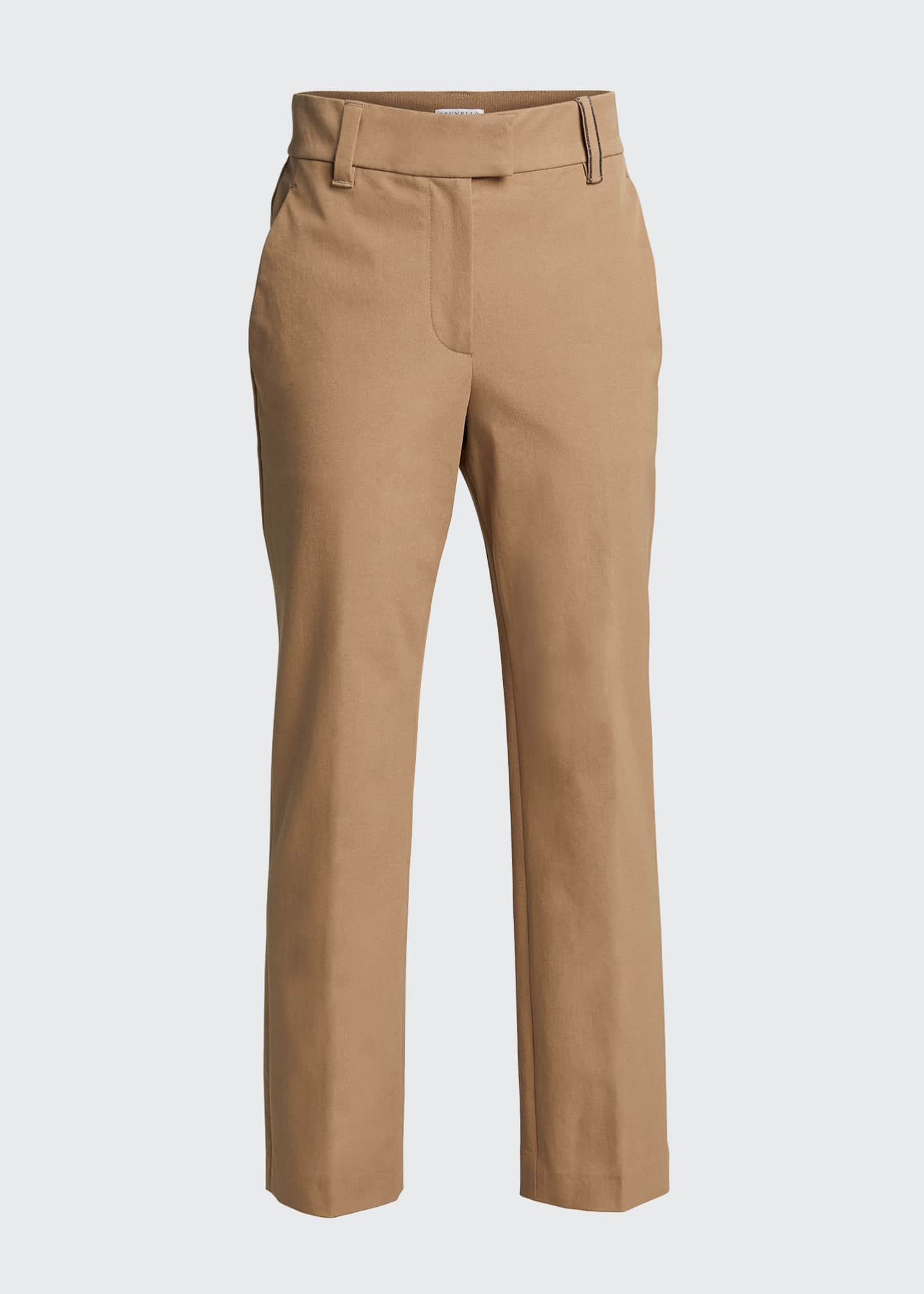 Image 5 of 5: Cotton Straight-Leg Crop Pants