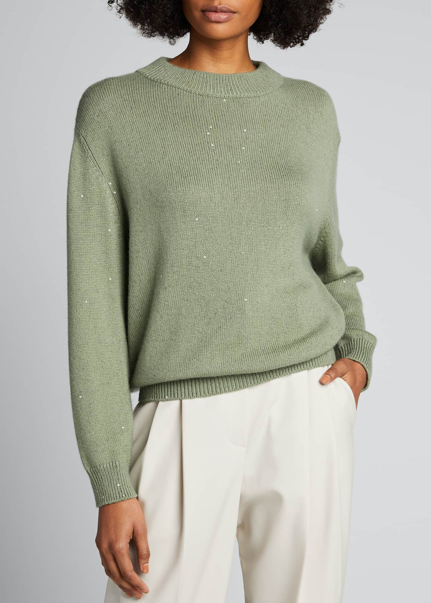 Image 3 of 5: Cashmere Silk Mock-Neck Sweater