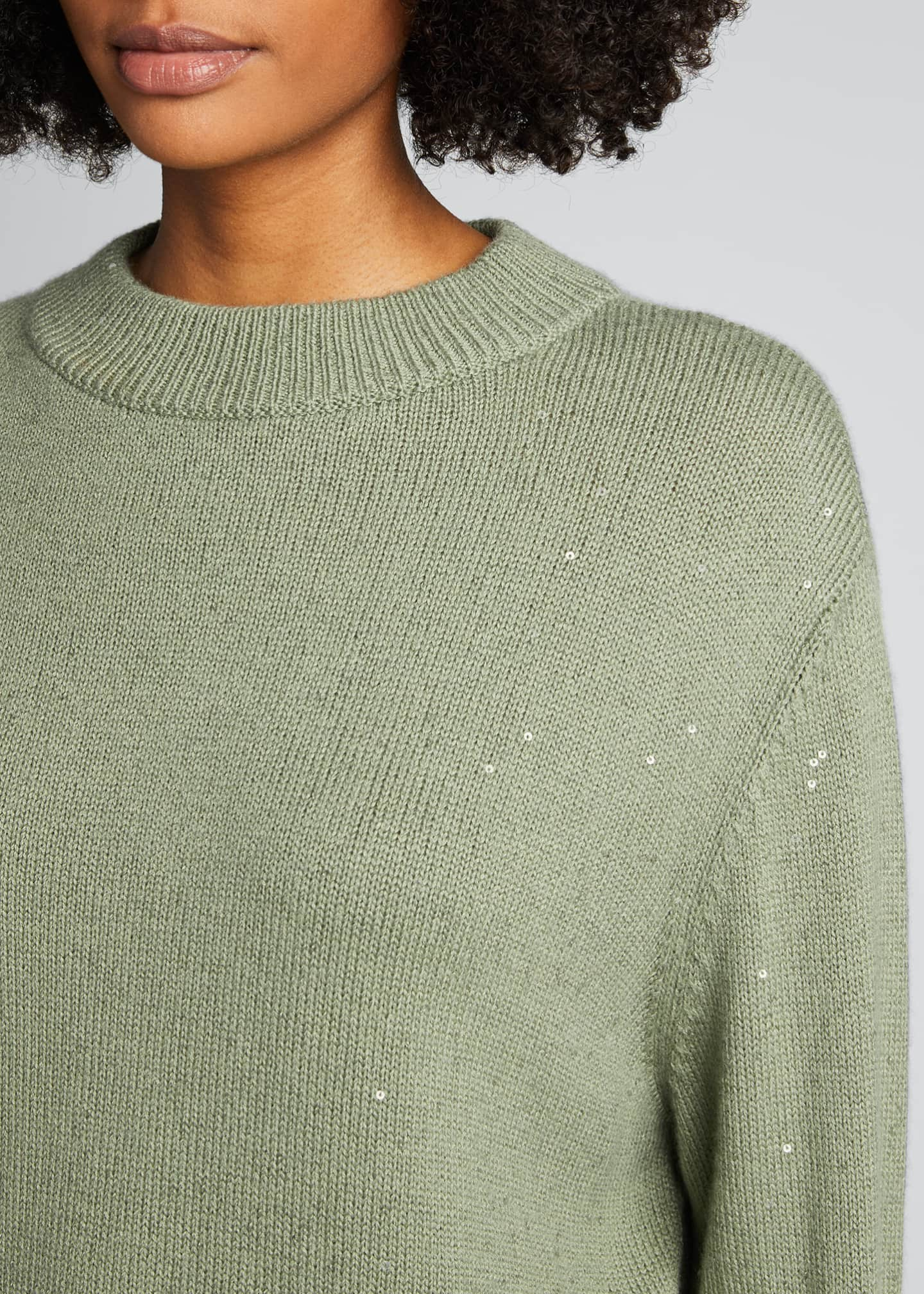 Image 4 of 5: Cashmere Silk Mock-Neck Sweater