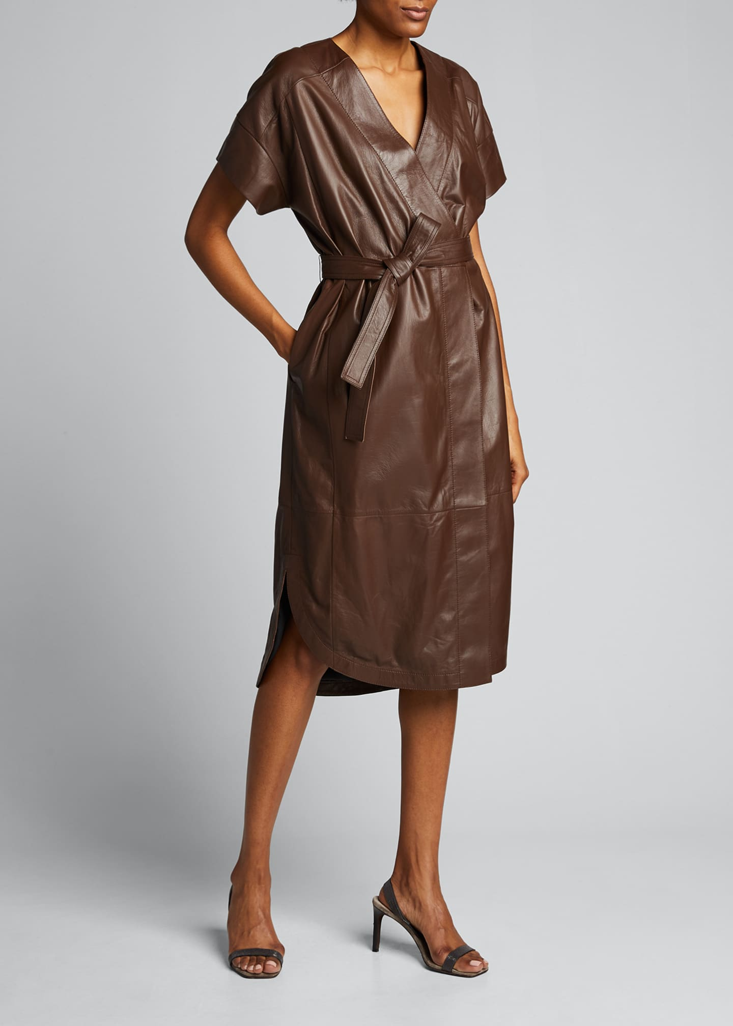 Image 3 of 5: Leather Belted Wrap Dress