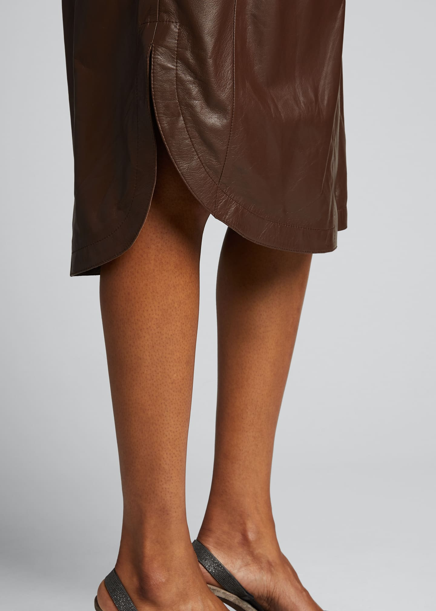Image 4 of 5: Leather Belted Wrap Dress