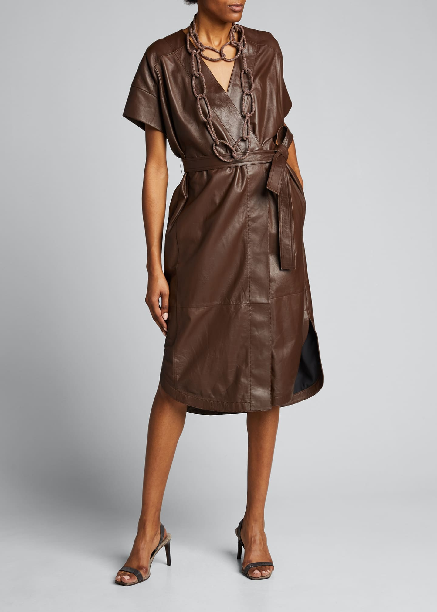 Image 1 of 5: Leather Belted Wrap Dress