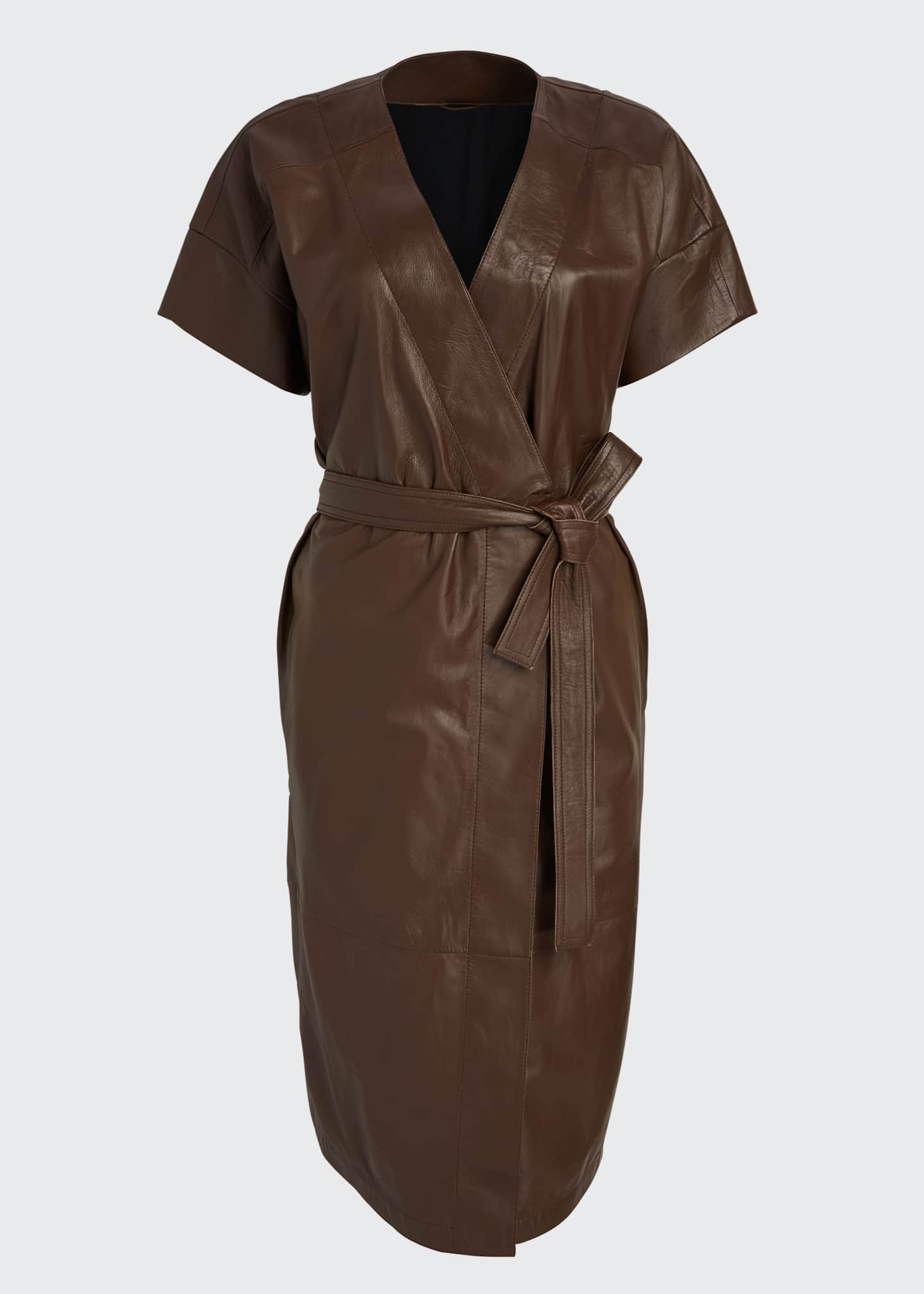 Image 5 of 5: Leather Belted Wrap Dress