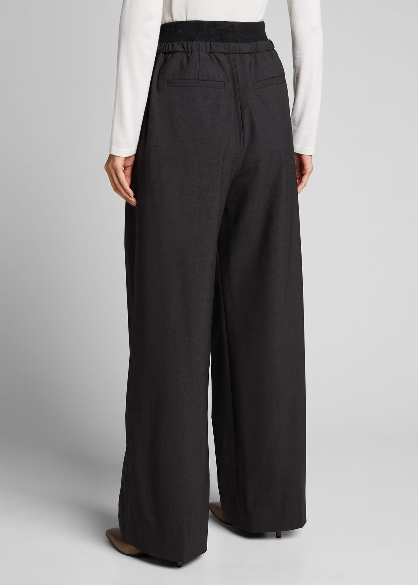 Image 2 of 5: Cashmere-Waist Wool Wide-Leg Pants