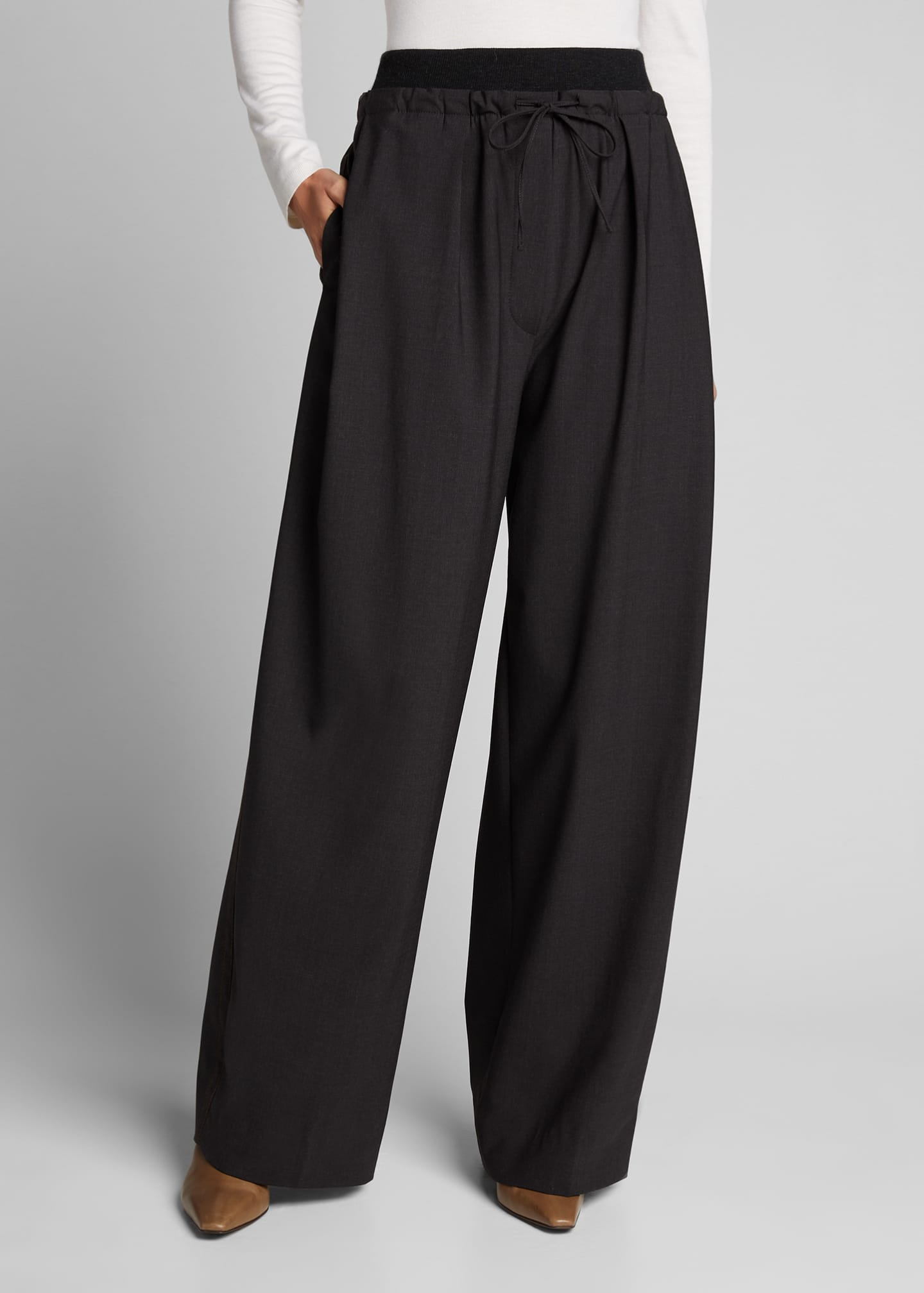 Image 3 of 5: Cashmere-Waist Wool Wide-Leg Pants