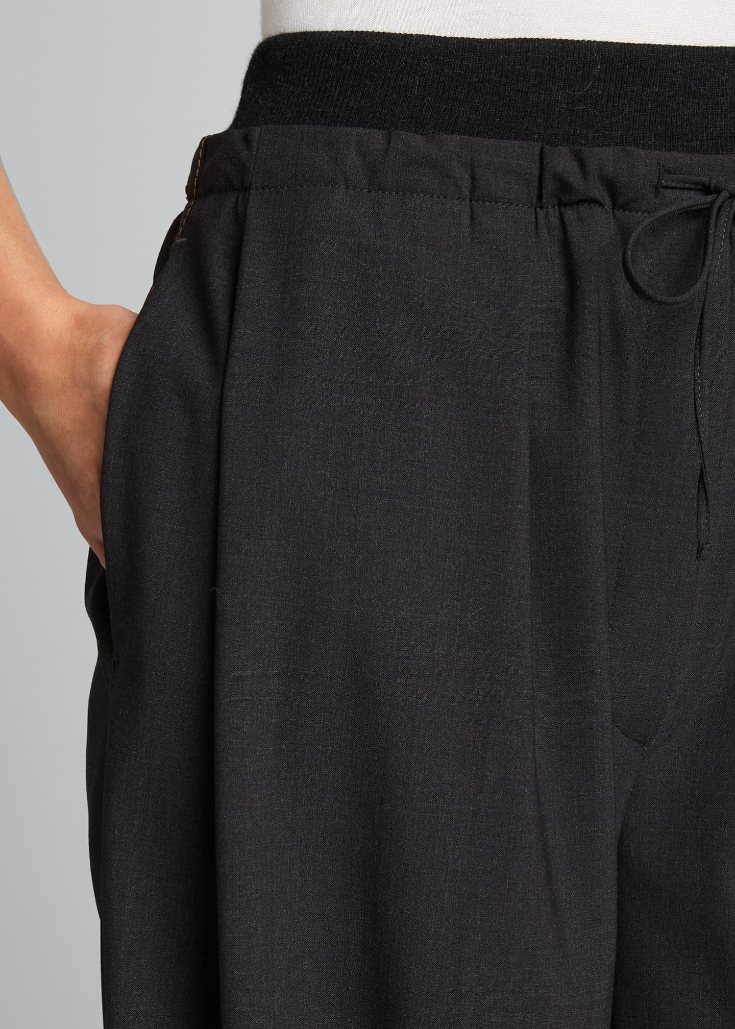 Image 4 of 5: Cashmere-Waist Wool Wide-Leg Pants
