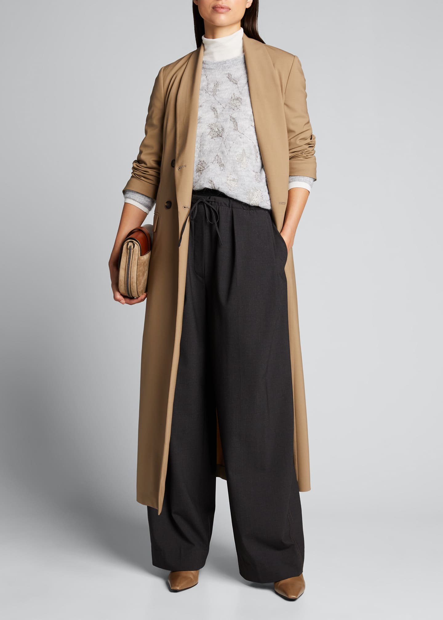 Image 1 of 5: Cashmere-Waist Wool Wide-Leg Pants