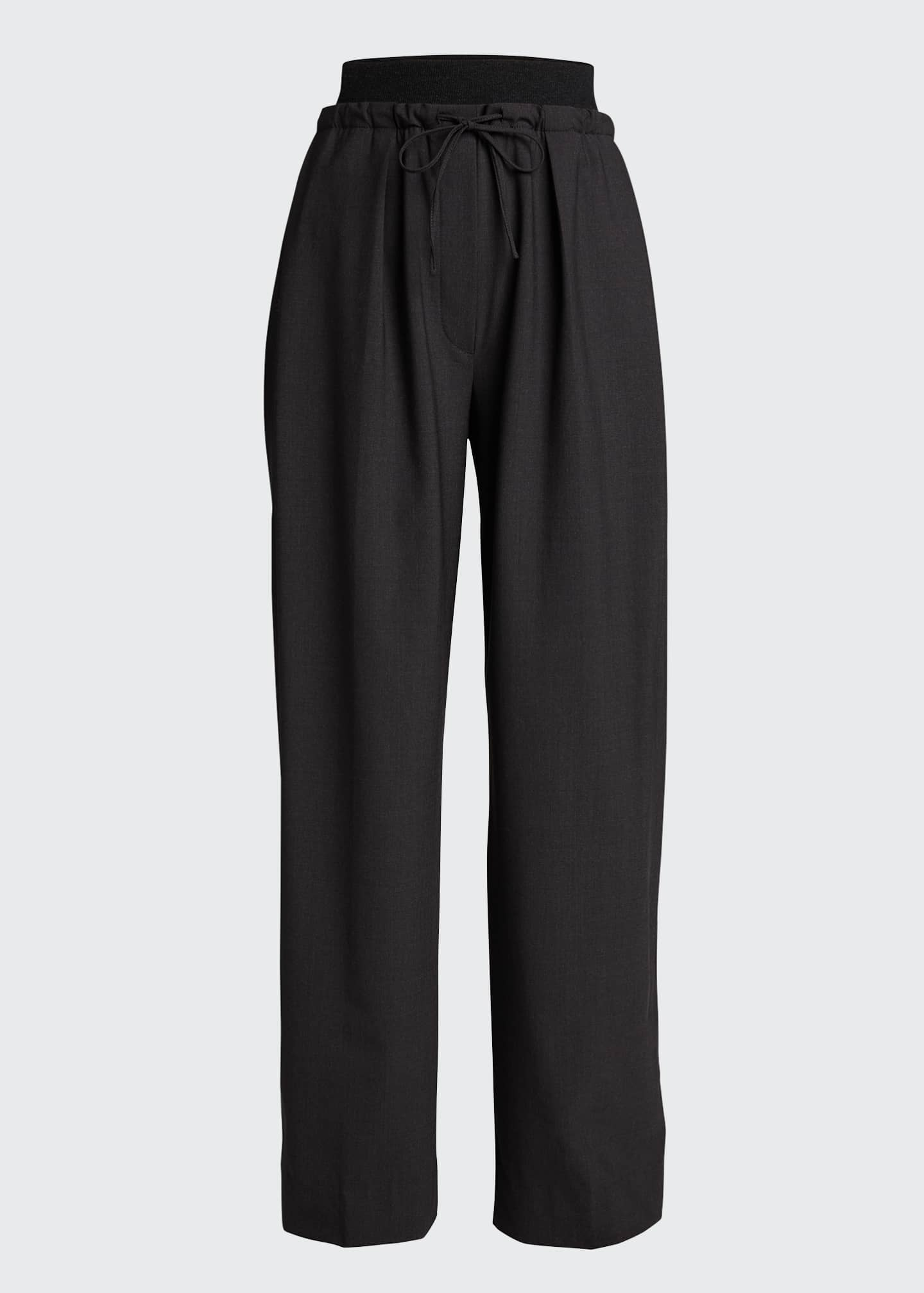 Image 5 of 5: Cashmere-Waist Wool Wide-Leg Pants