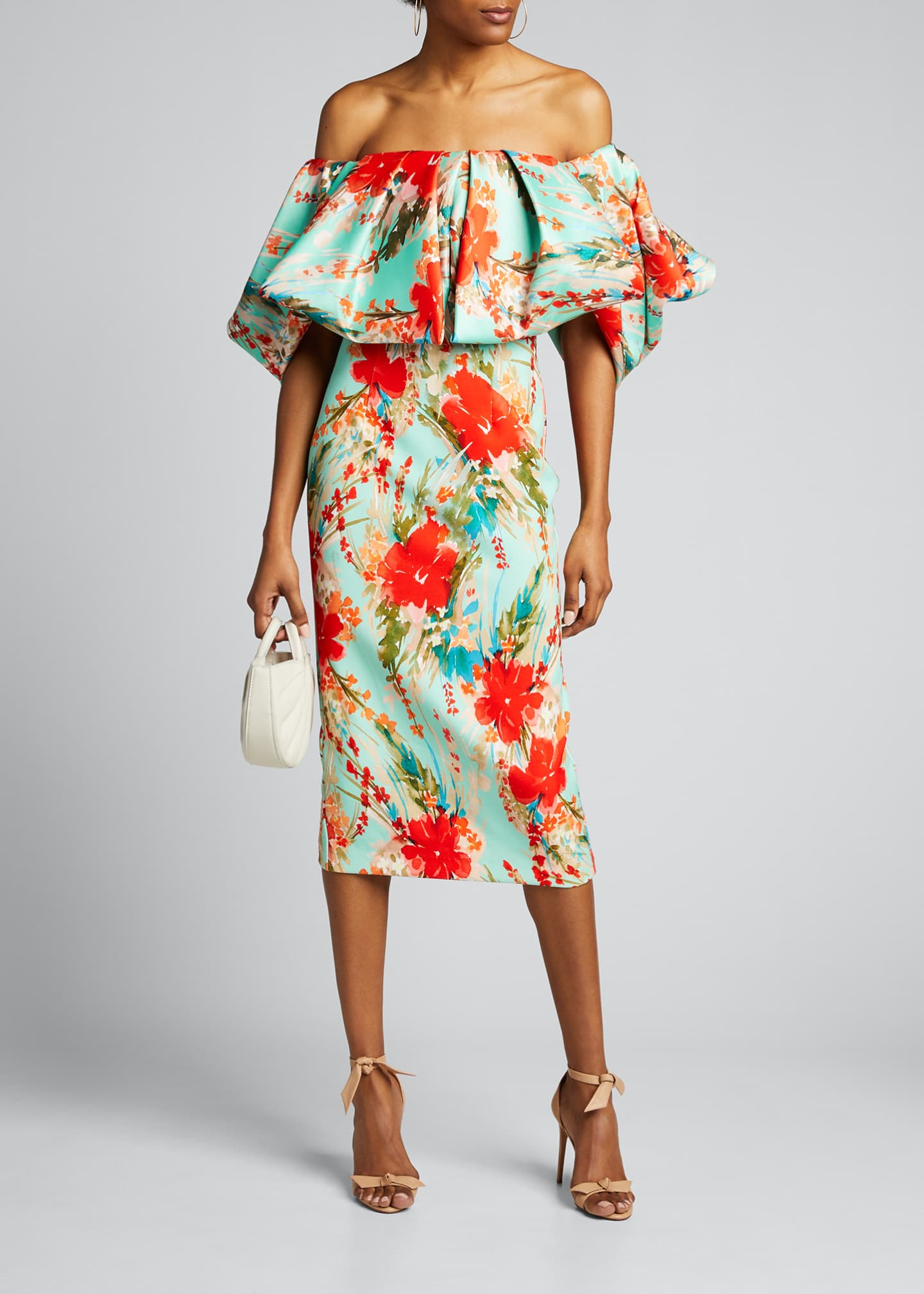 Badgley Mischka Collection Floral Off-the-Shoulder Puff-Sleeve