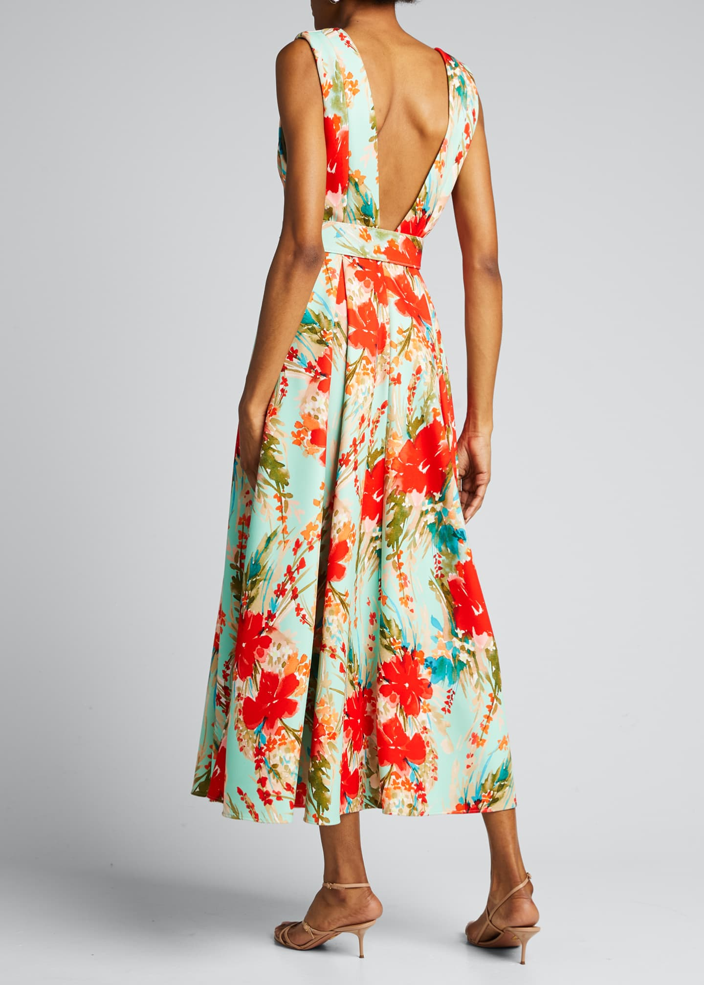 Image 2 of 5: Floral Mikado Sleeveless Belted Dress