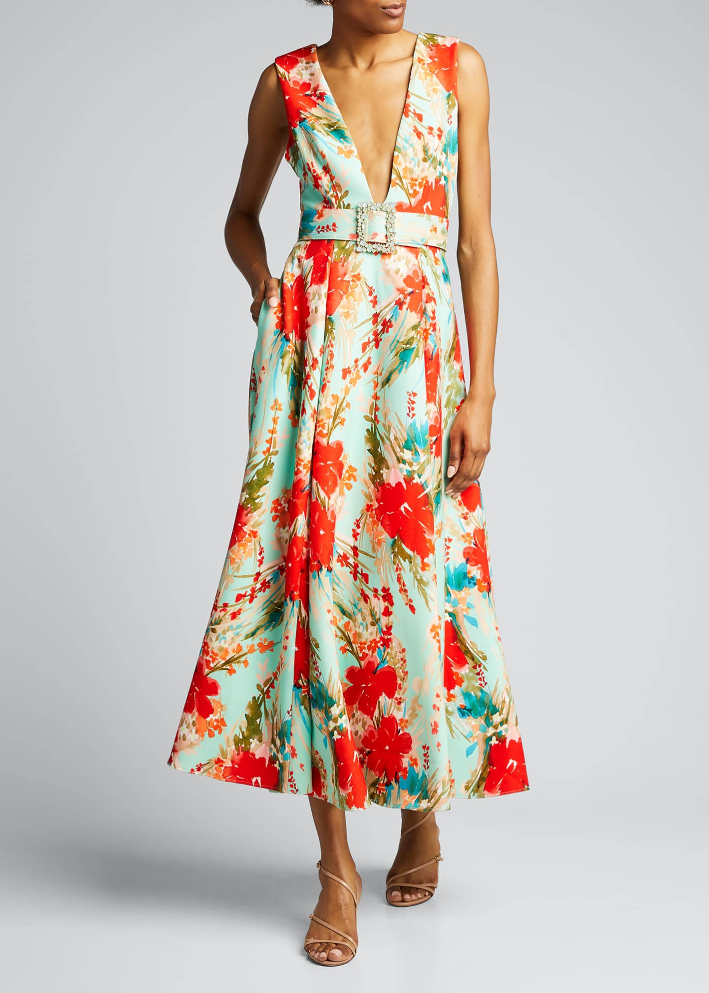 Image 3 of 5: Floral Mikado Sleeveless Belted Dress