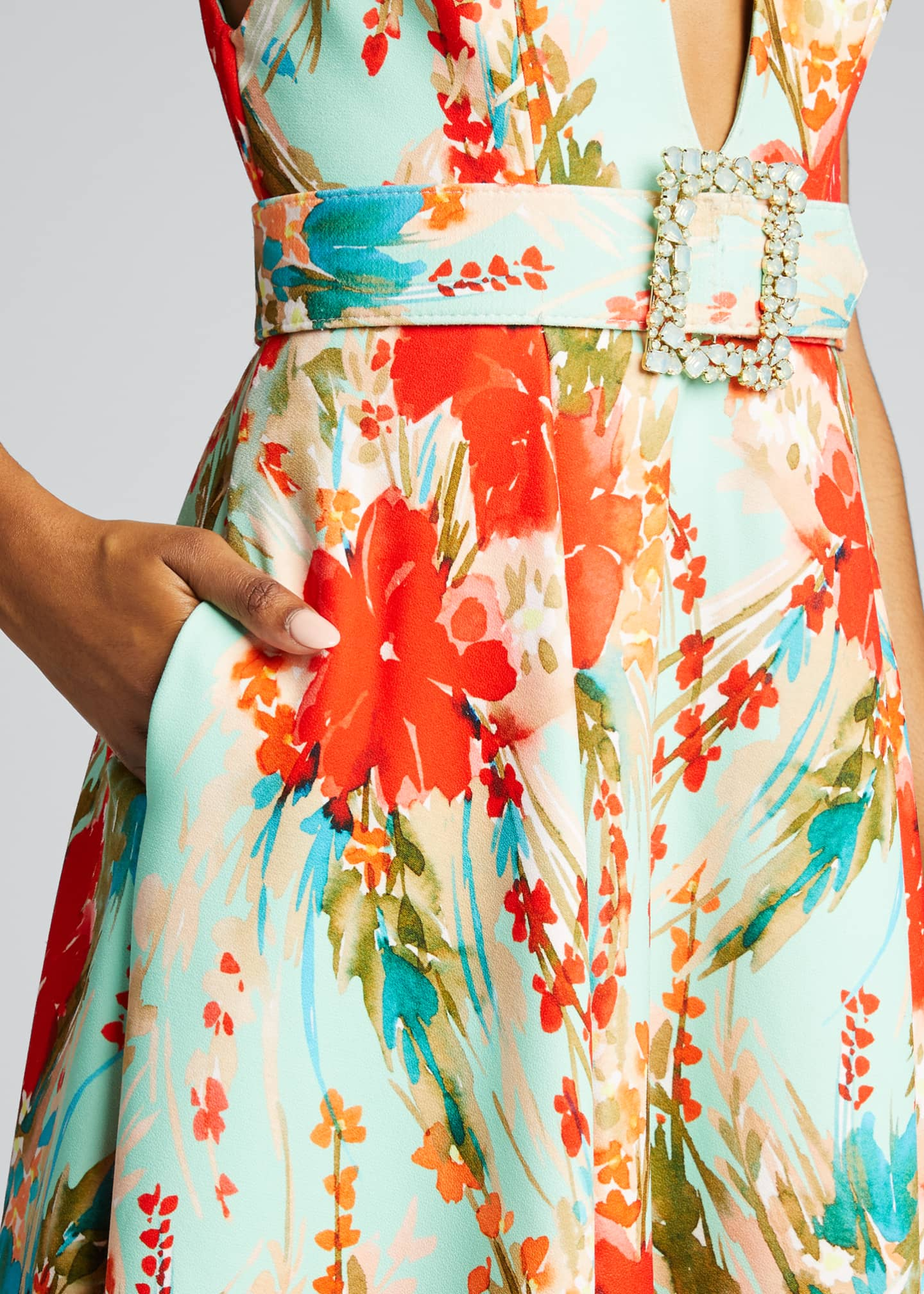 Image 4 of 5: Floral Mikado Sleeveless Belted Dress