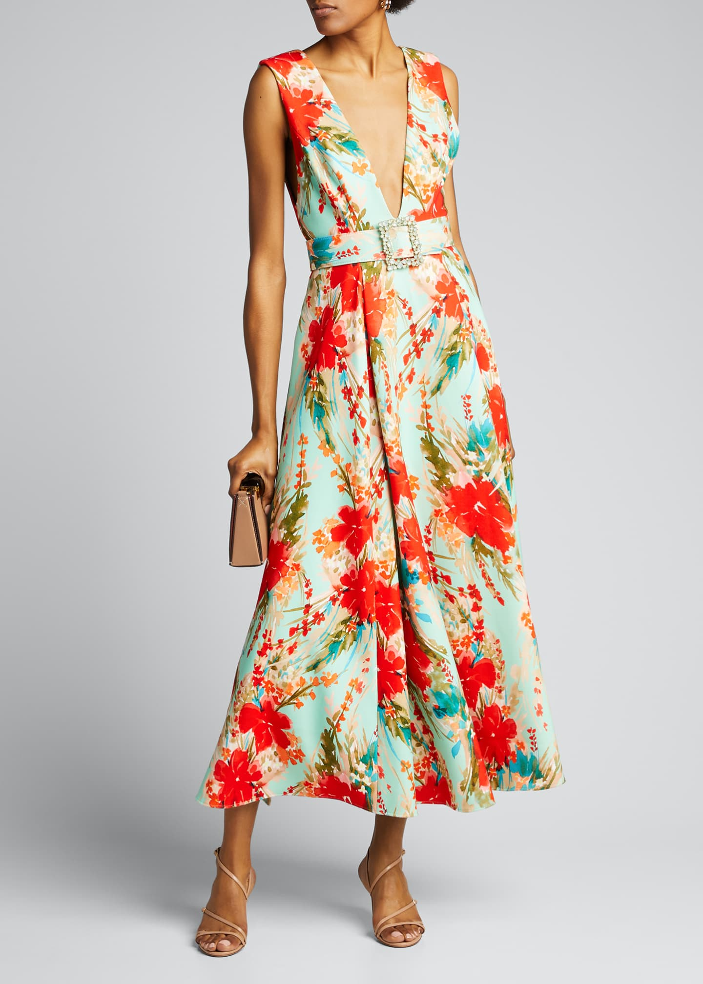 Image 1 of 5: Floral Mikado Sleeveless Belted Dress