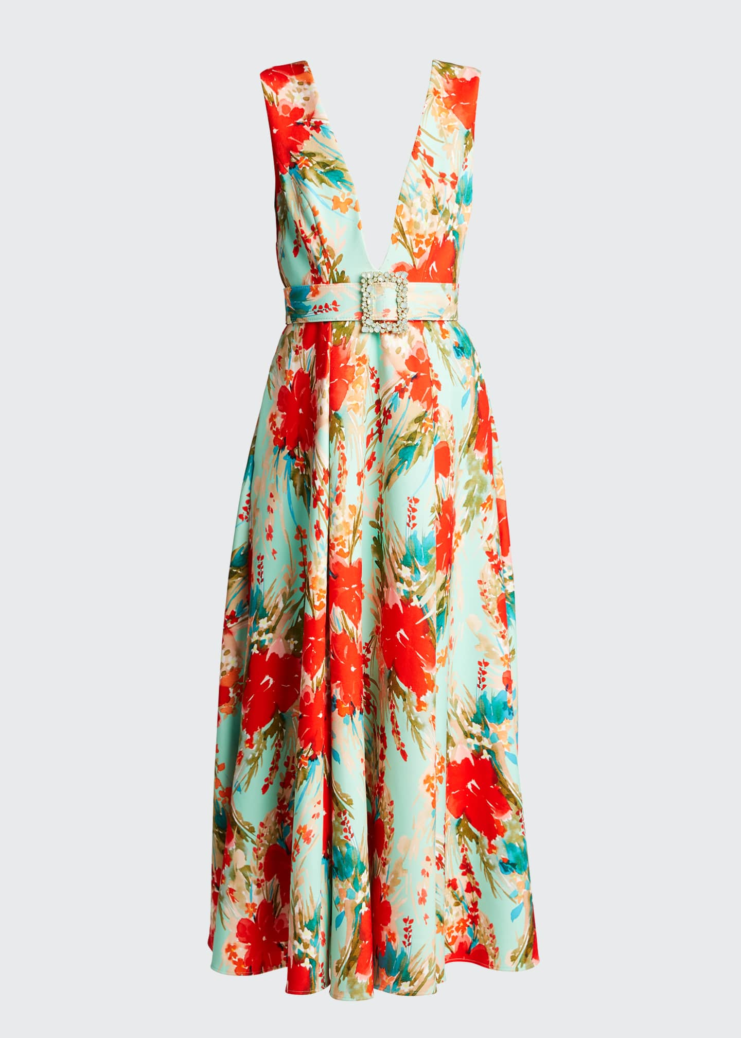 Image 5 of 5: Floral Mikado Sleeveless Belted Dress