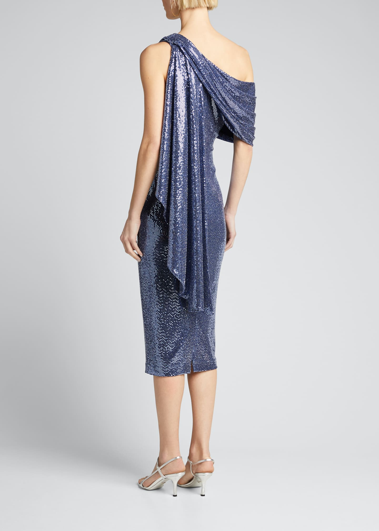 Image 2 of 5: Sequin One-Shoulder Cocktail Dress