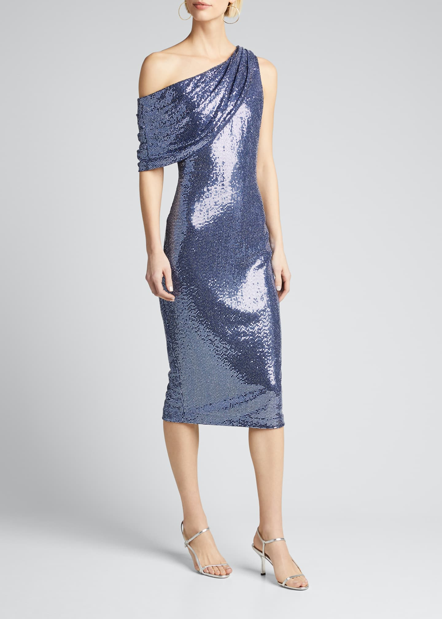 Image 3 of 5: Sequin One-Shoulder Cocktail Dress