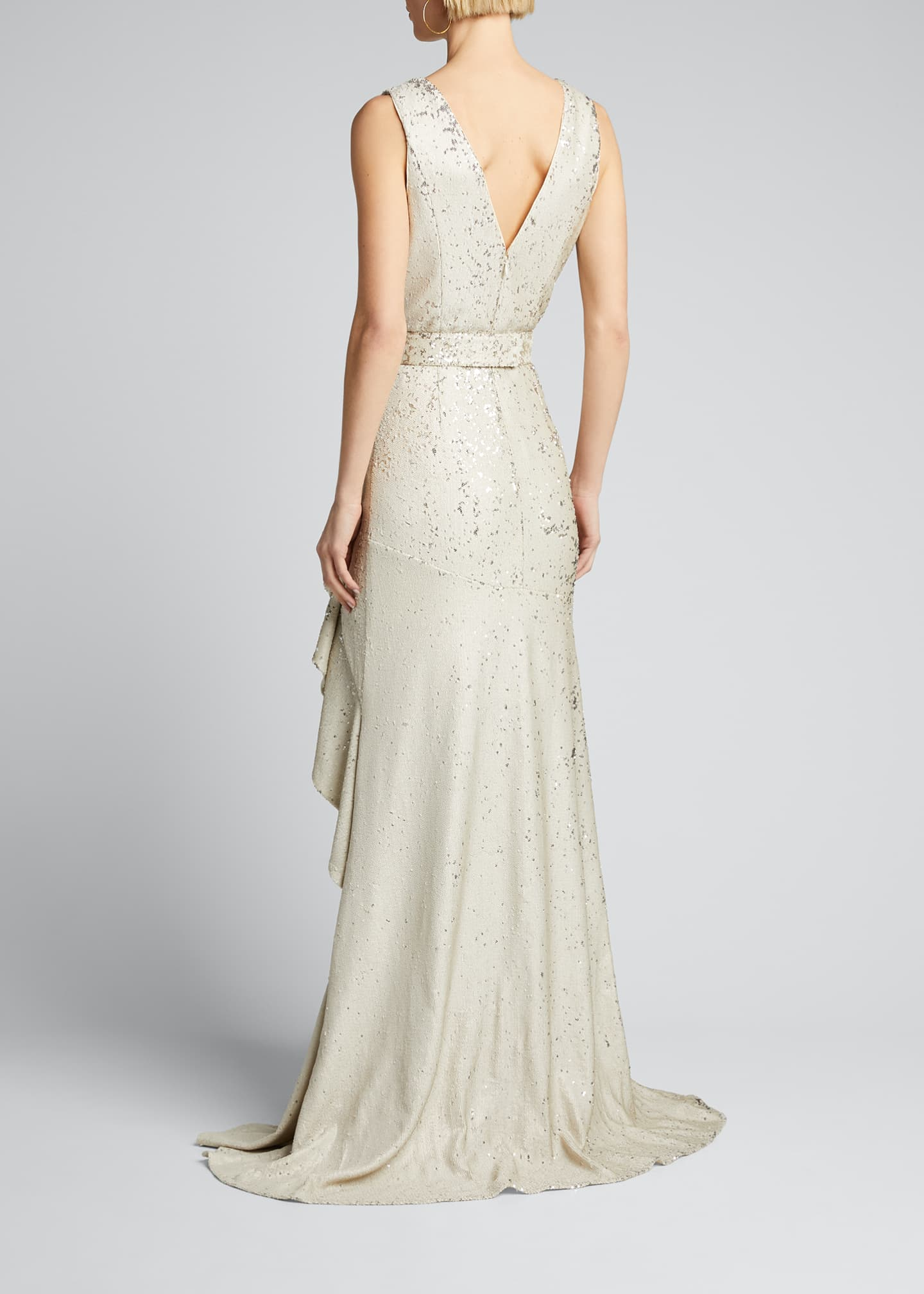 Image 2 of 5: Sequin V-Neck Sleeveless Side-Ruffle Gown