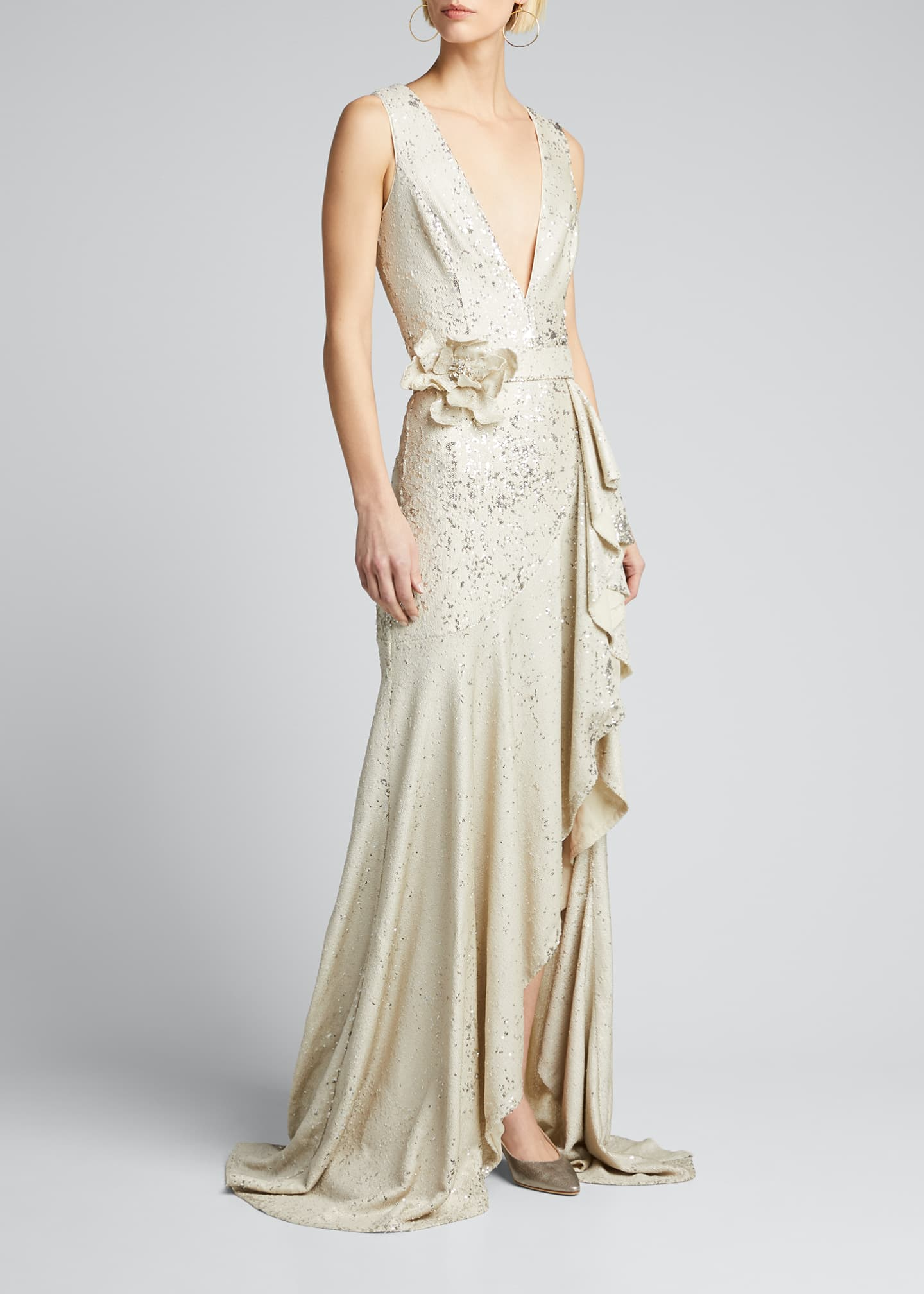 Image 3 of 5: Sequin V-Neck Sleeveless Side-Ruffle Gown