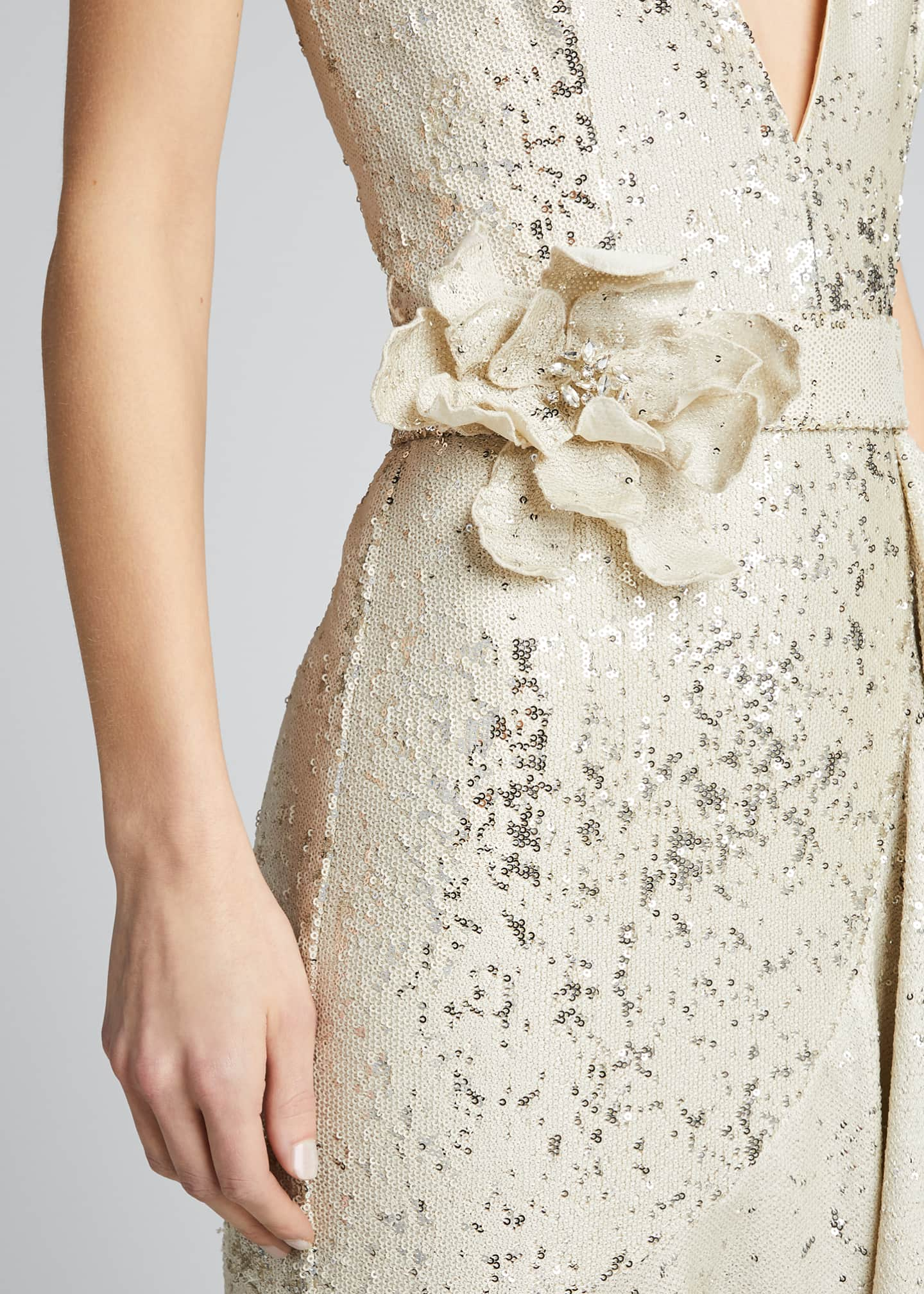 Image 4 of 5: Sequin V-Neck Sleeveless Side-Ruffle Gown