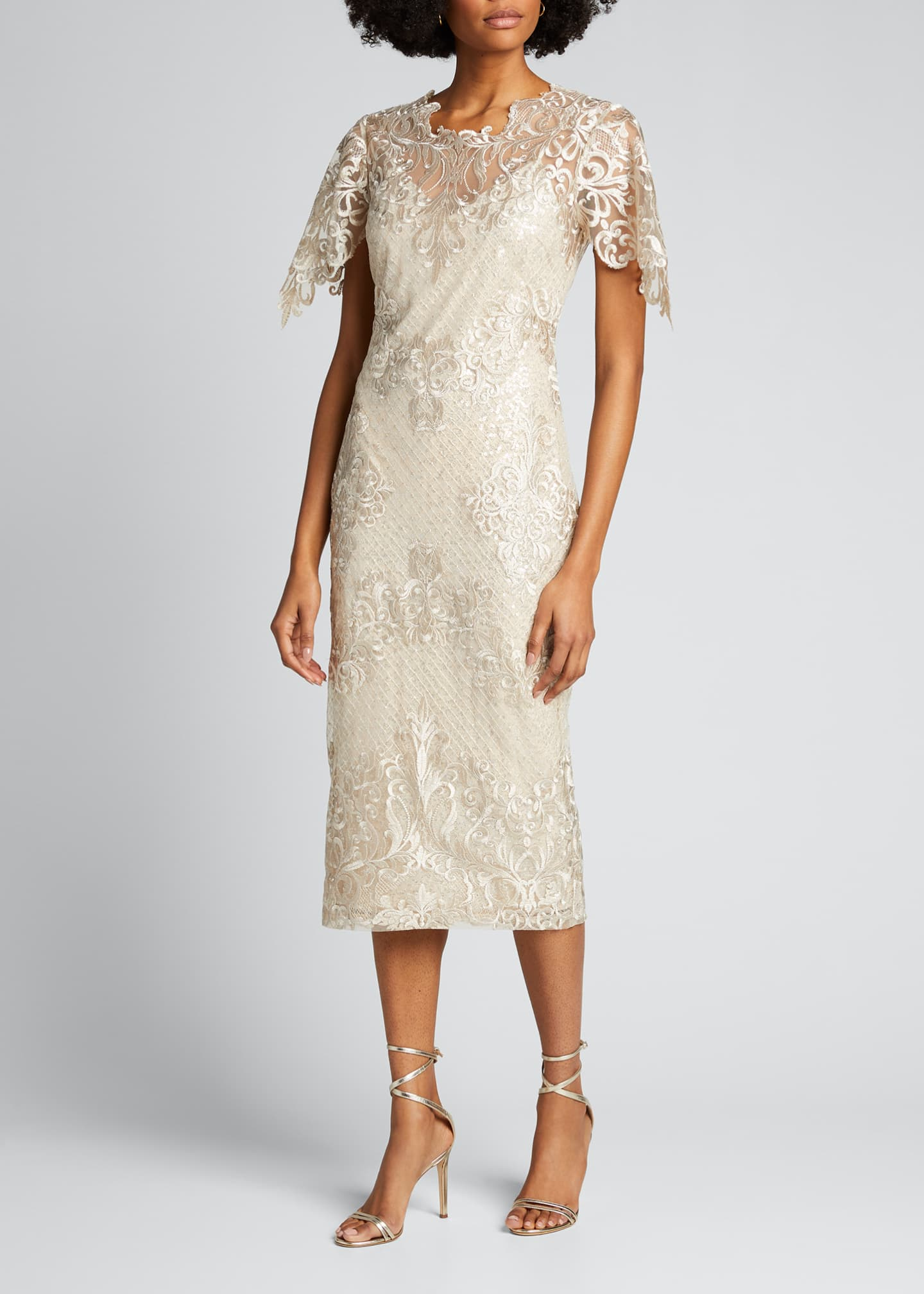 Image 3 of 5: Embroidered Lace Sheath Dress