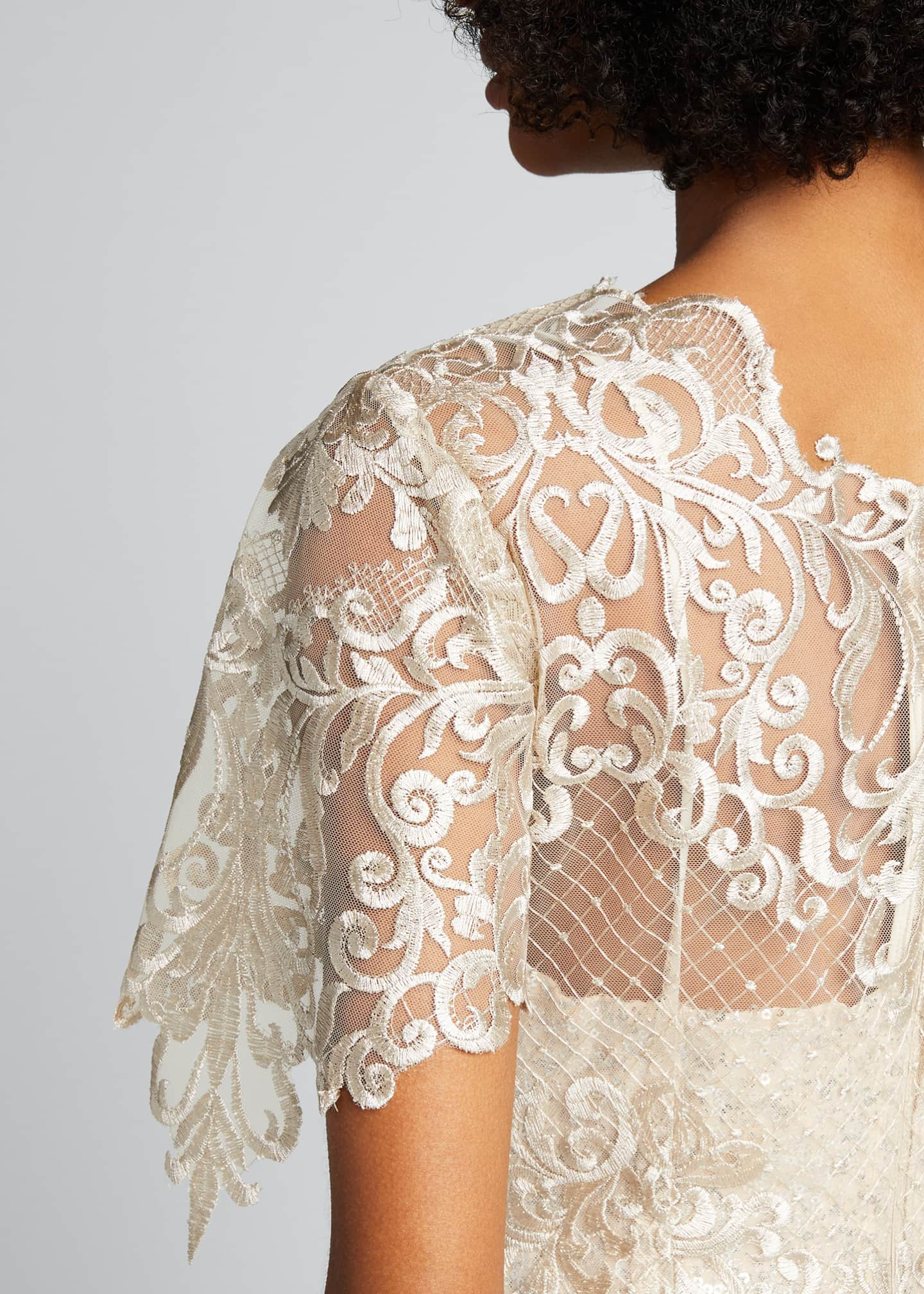 Image 4 of 5: Embroidered Lace Sheath Dress