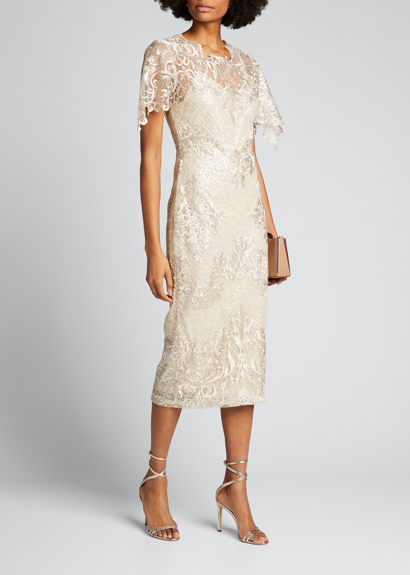 Image 1 of 5: Embroidered Lace Sheath Dress