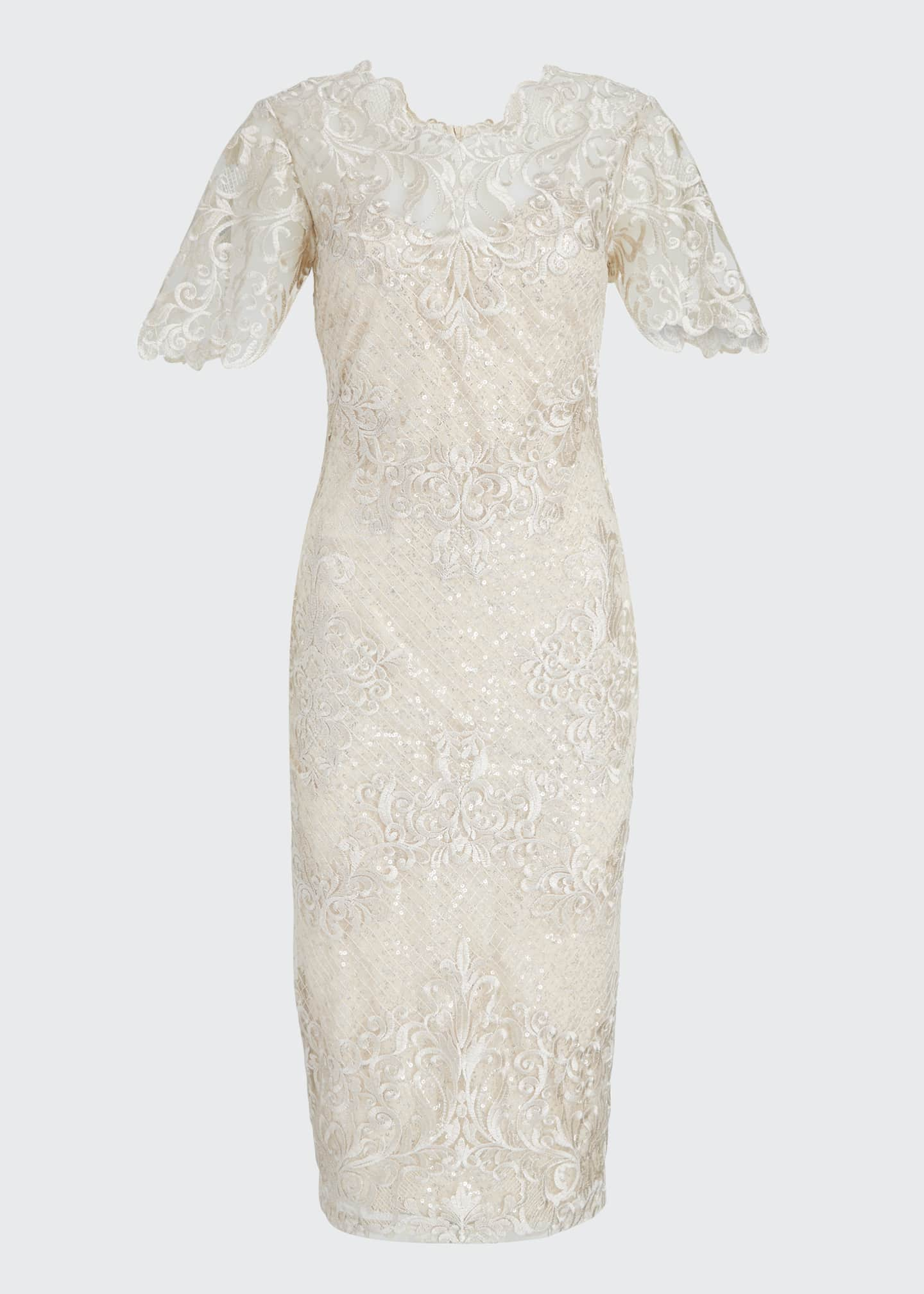 Image 5 of 5: Embroidered Lace Sheath Dress