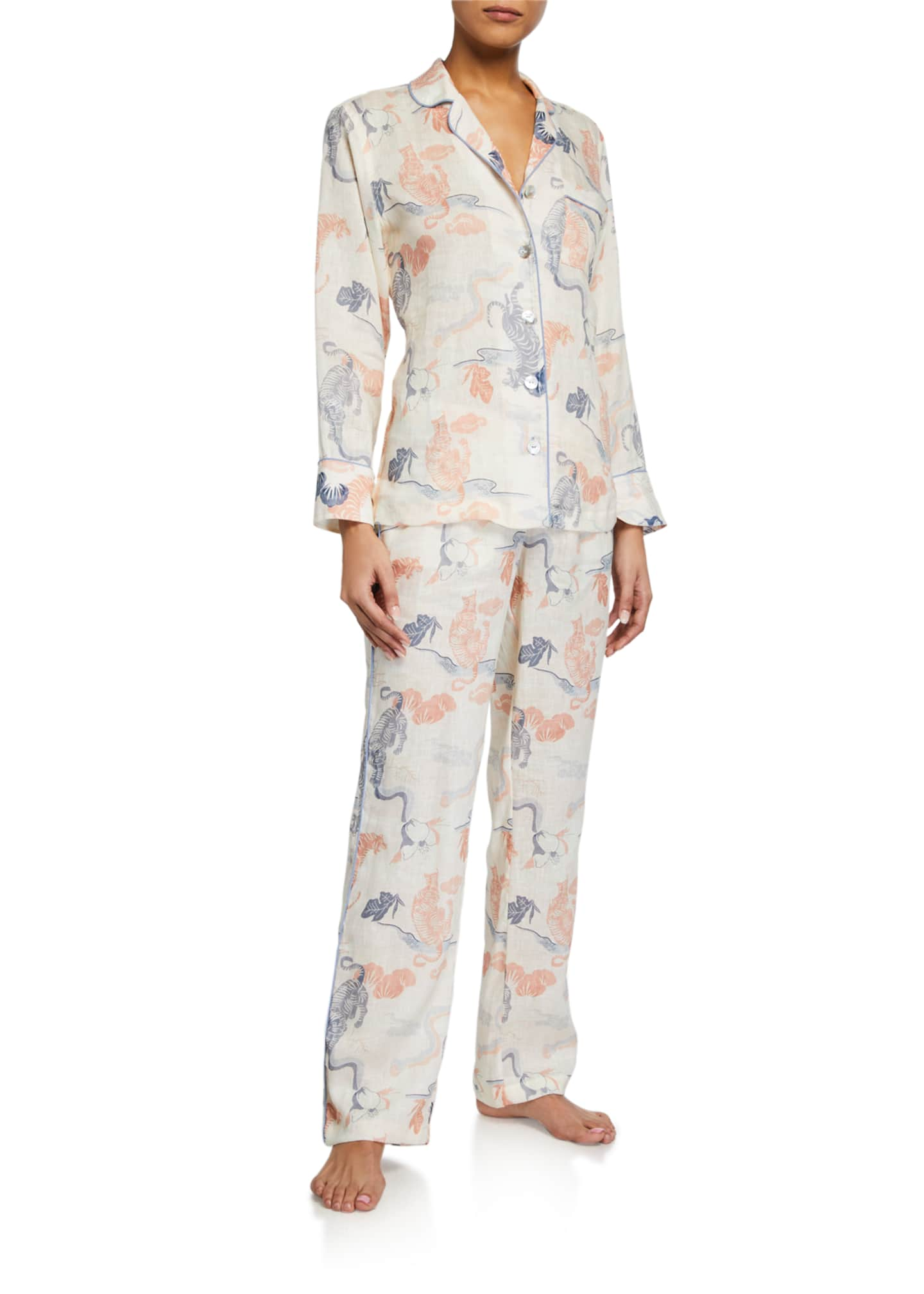Image 1 of 2: Emma Peking Tiger Long Pajama Set