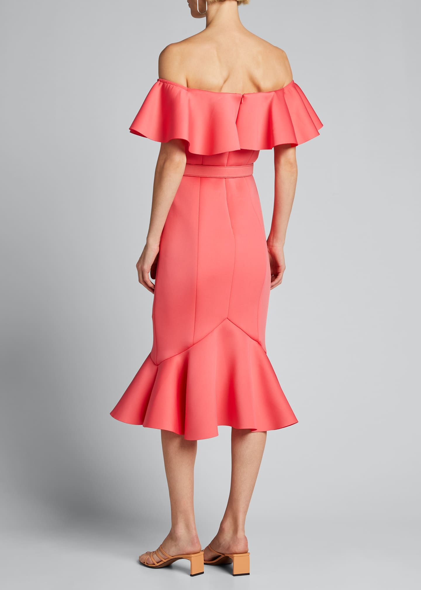 Image 2 of 5: Off-the-Shoulder Scuba Ruffle Dress