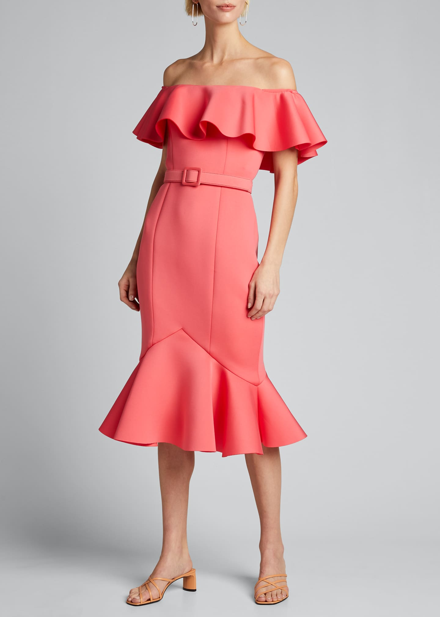 Image 3 of 5: Off-the-Shoulder Scuba Ruffle Dress