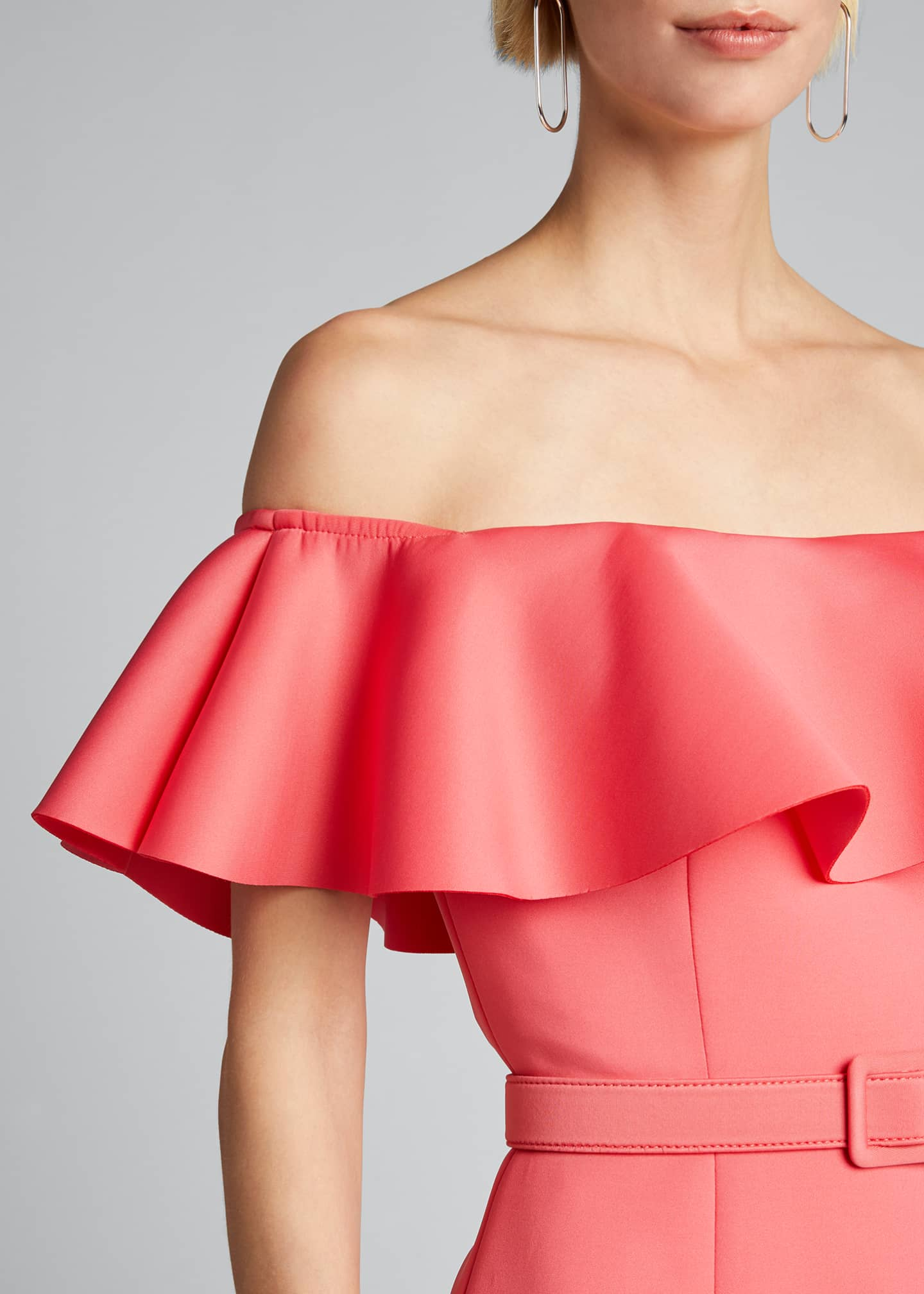 Image 4 of 5: Off-the-Shoulder Scuba Ruffle Dress