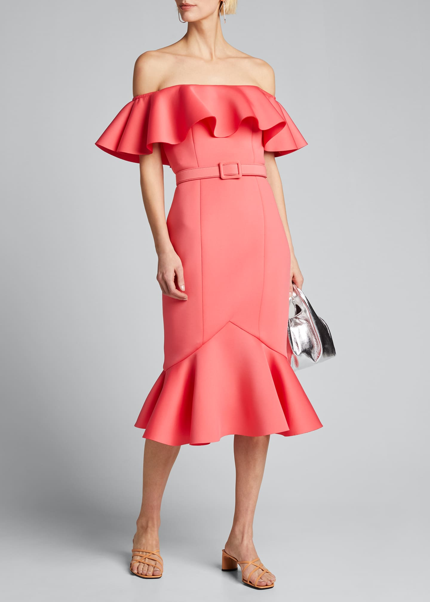 Image 1 of 5: Off-the-Shoulder Scuba Ruffle Dress
