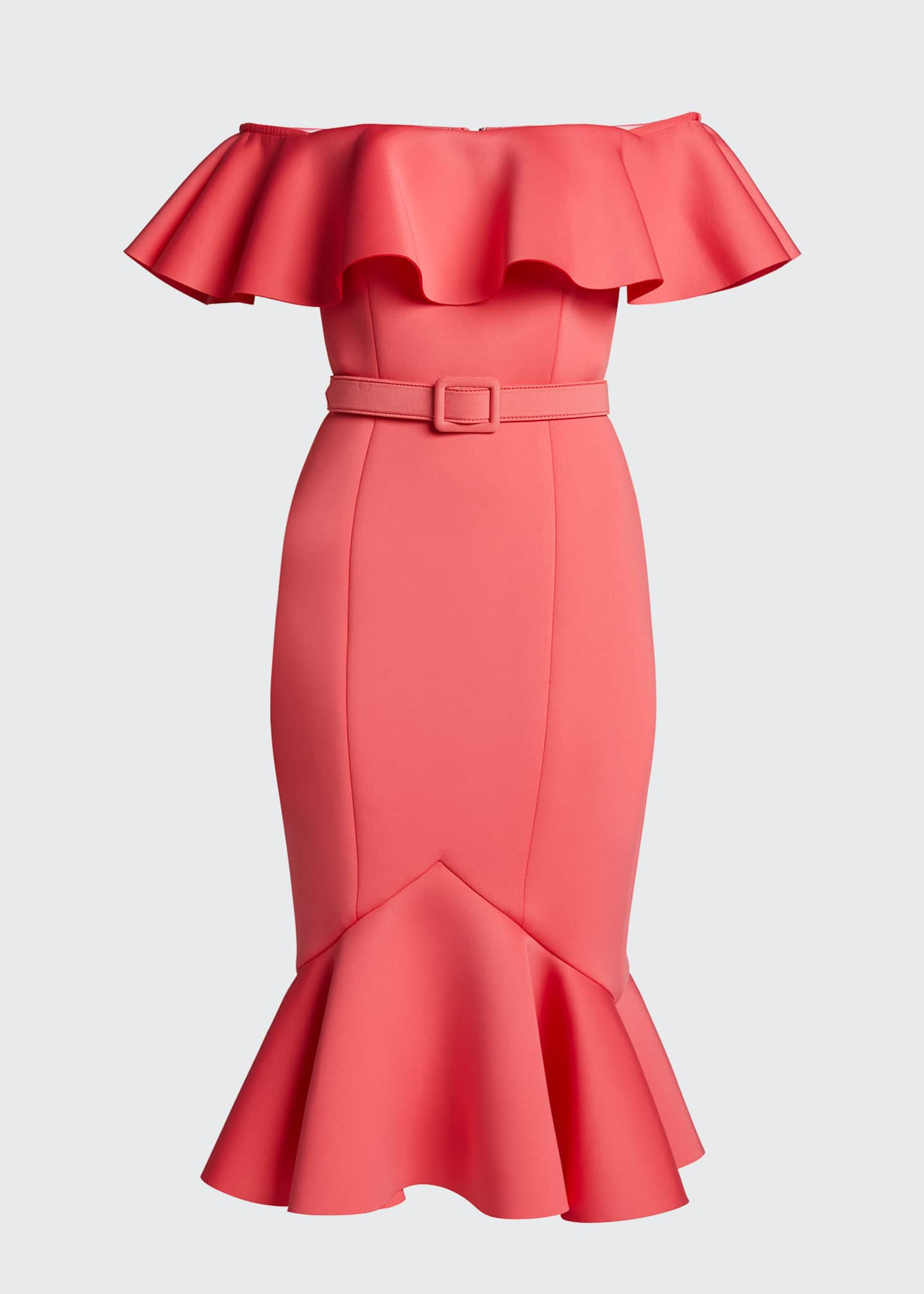 Image 5 of 5: Off-the-Shoulder Scuba Ruffle Dress