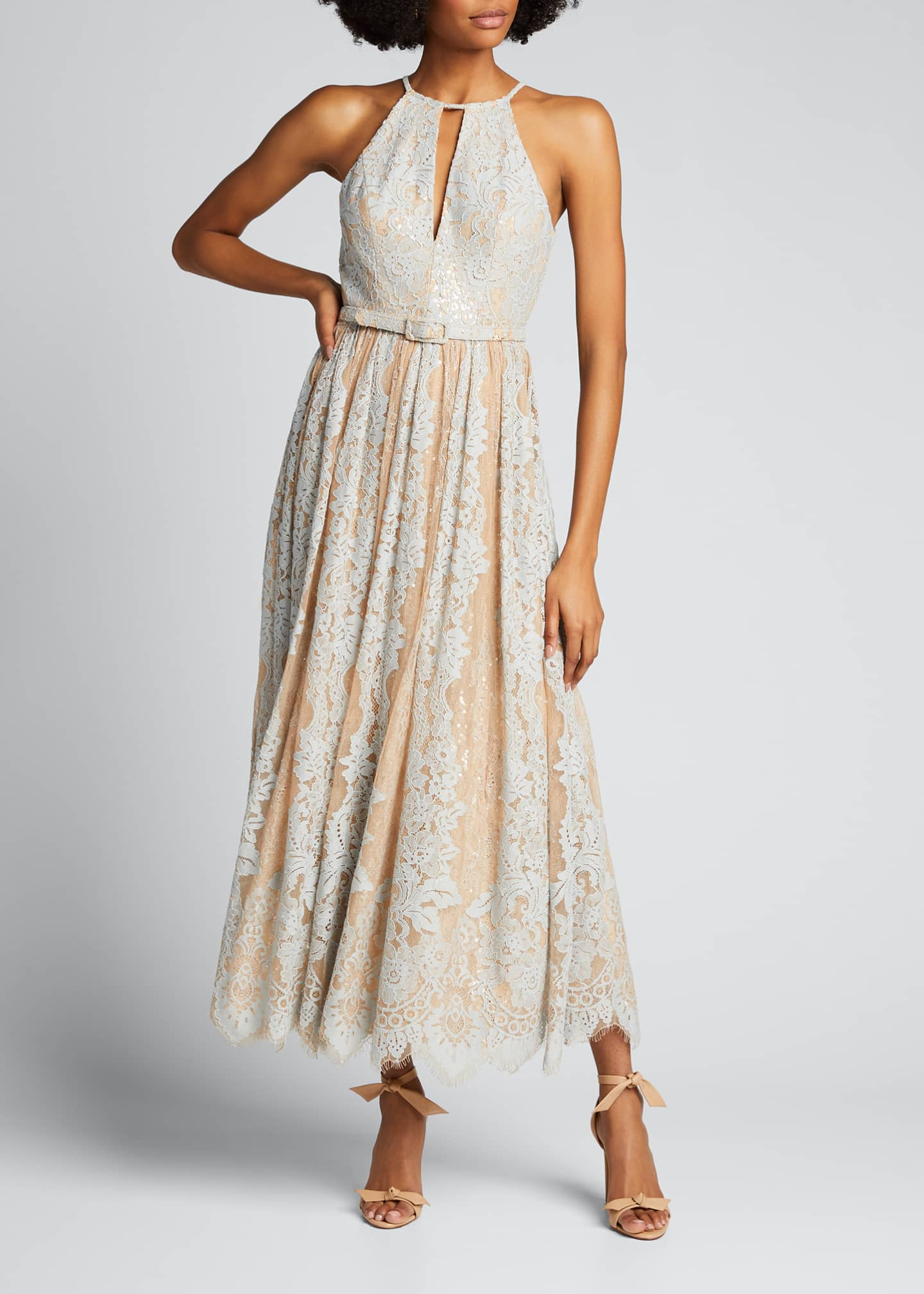 Image 3 of 5: Sequin Lace Racer Halter Dress